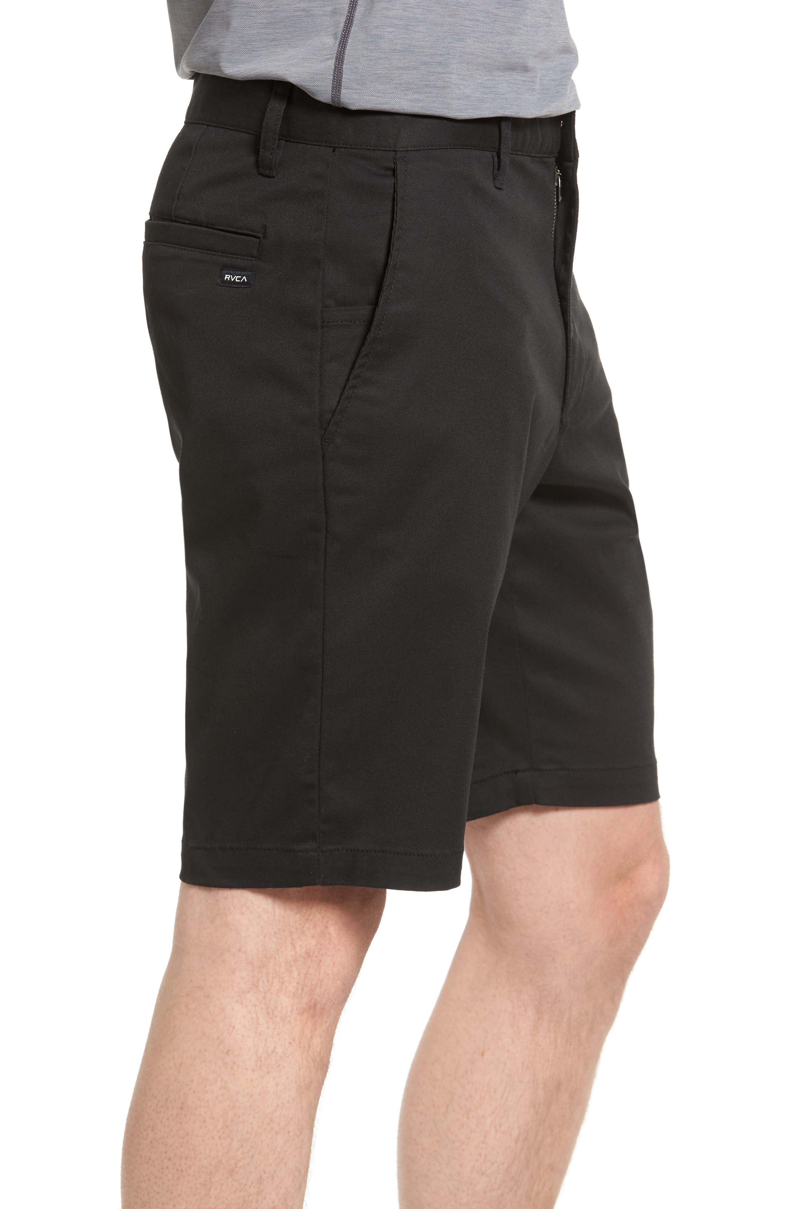 The Week-End Stretch Twill Chino Shorts,                             Alternate thumbnail 3, color,                             BLACK