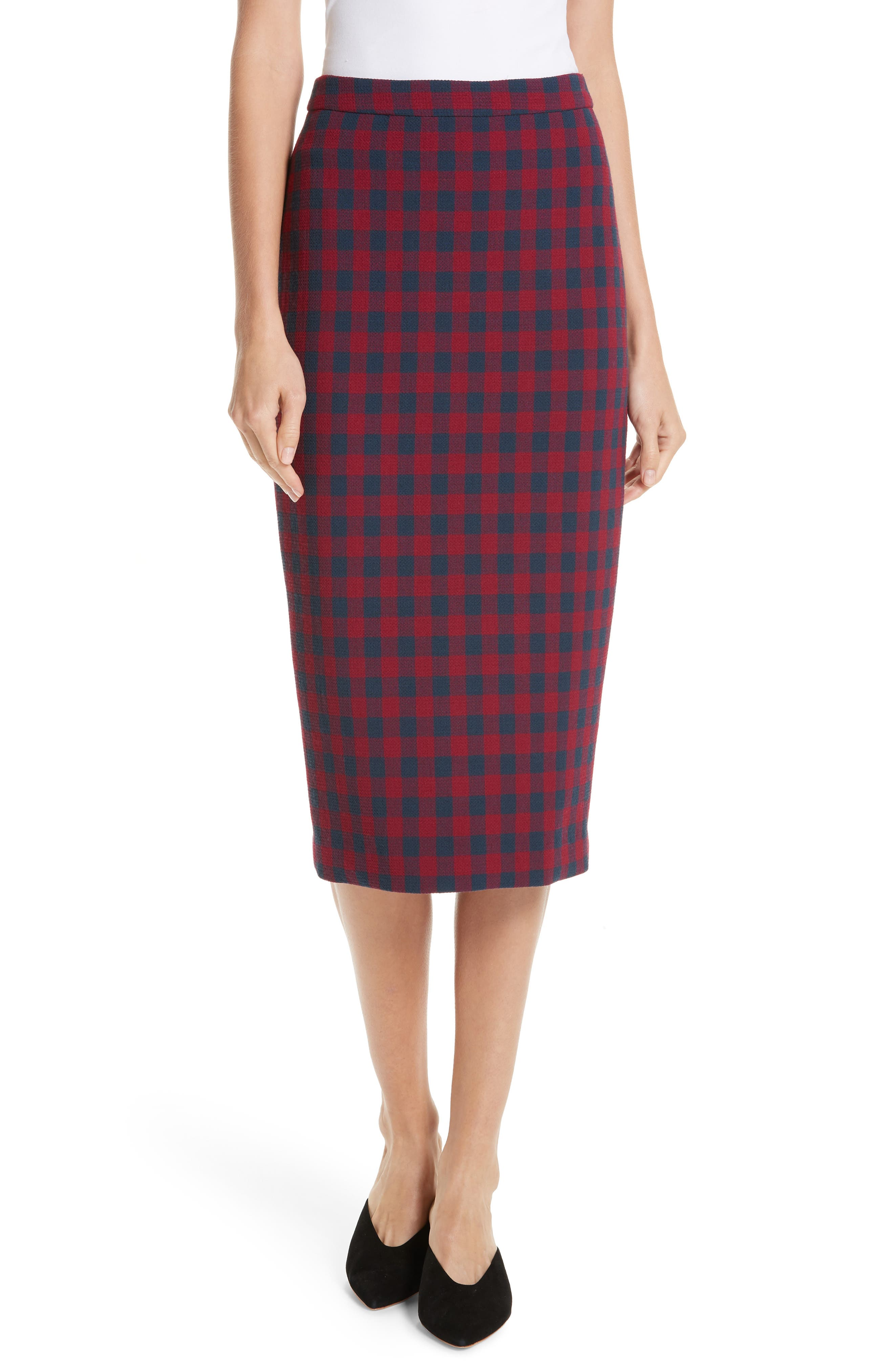 Thea Plaid Wool Pencil Skirt,                         Main,                         color, BERRY/ NAVY