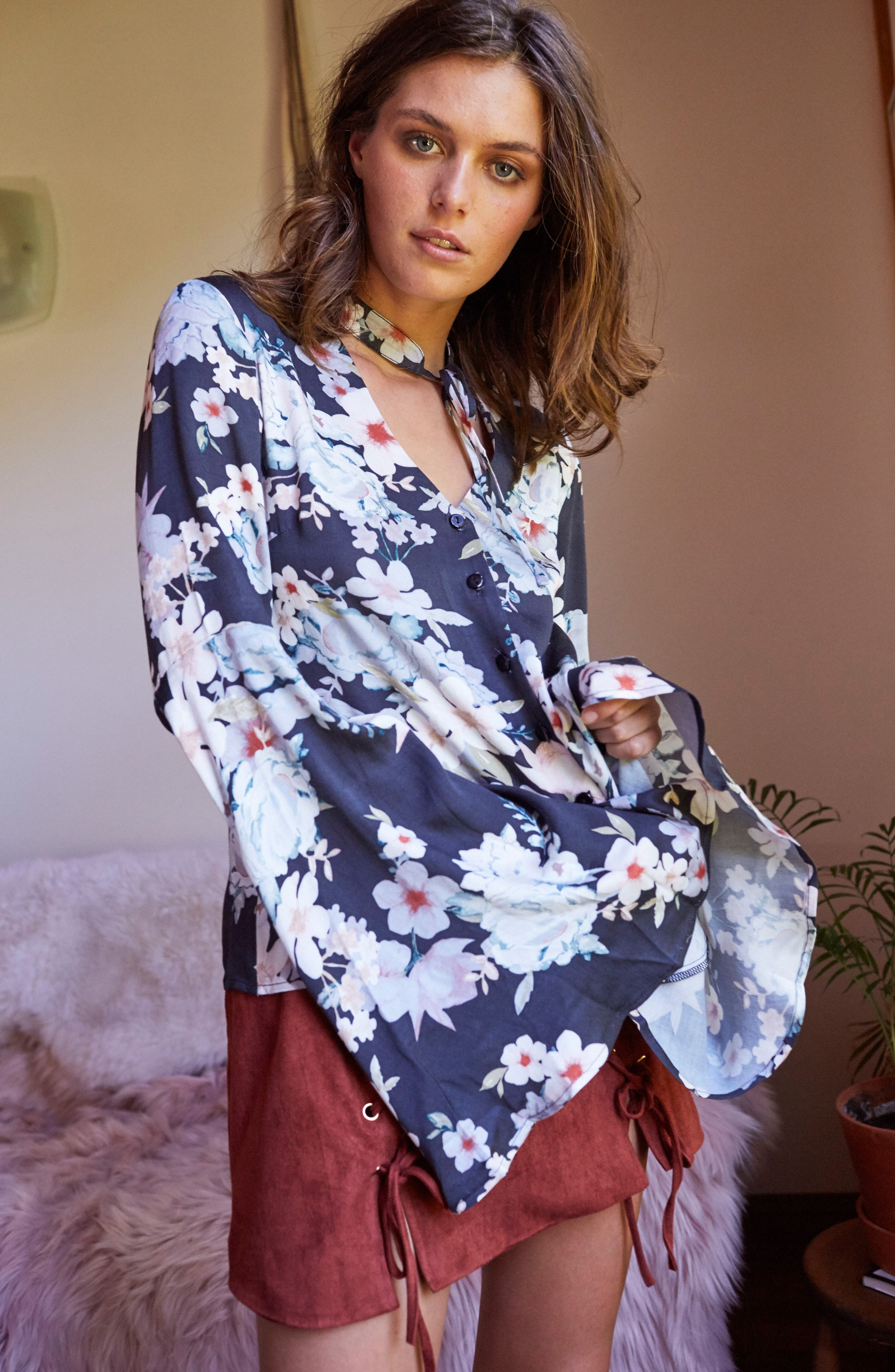 Mystic Nights Floral Blouse,                             Alternate thumbnail 7, color,                             400