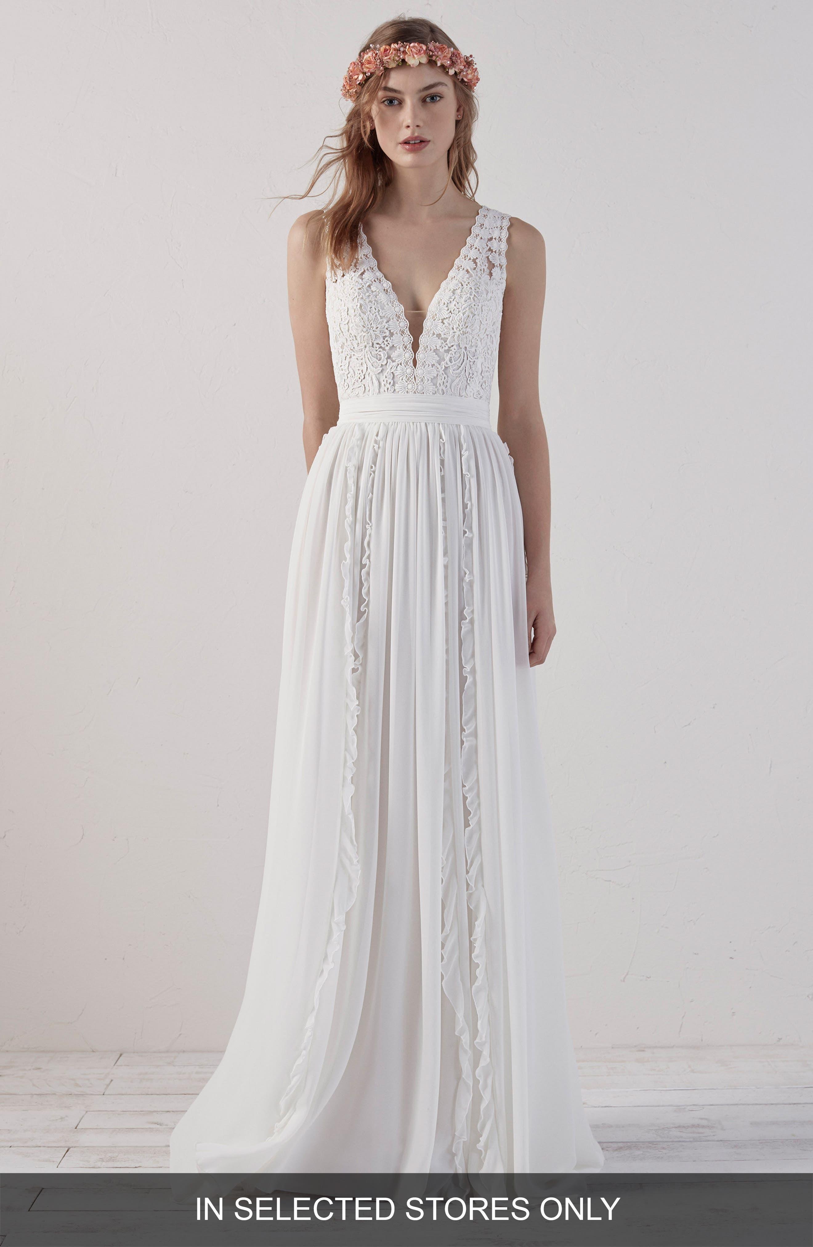 Elbet Boho V-Neck Lace & Chiffon Gown,                             Main thumbnail 1, color,                             OFF WHITE