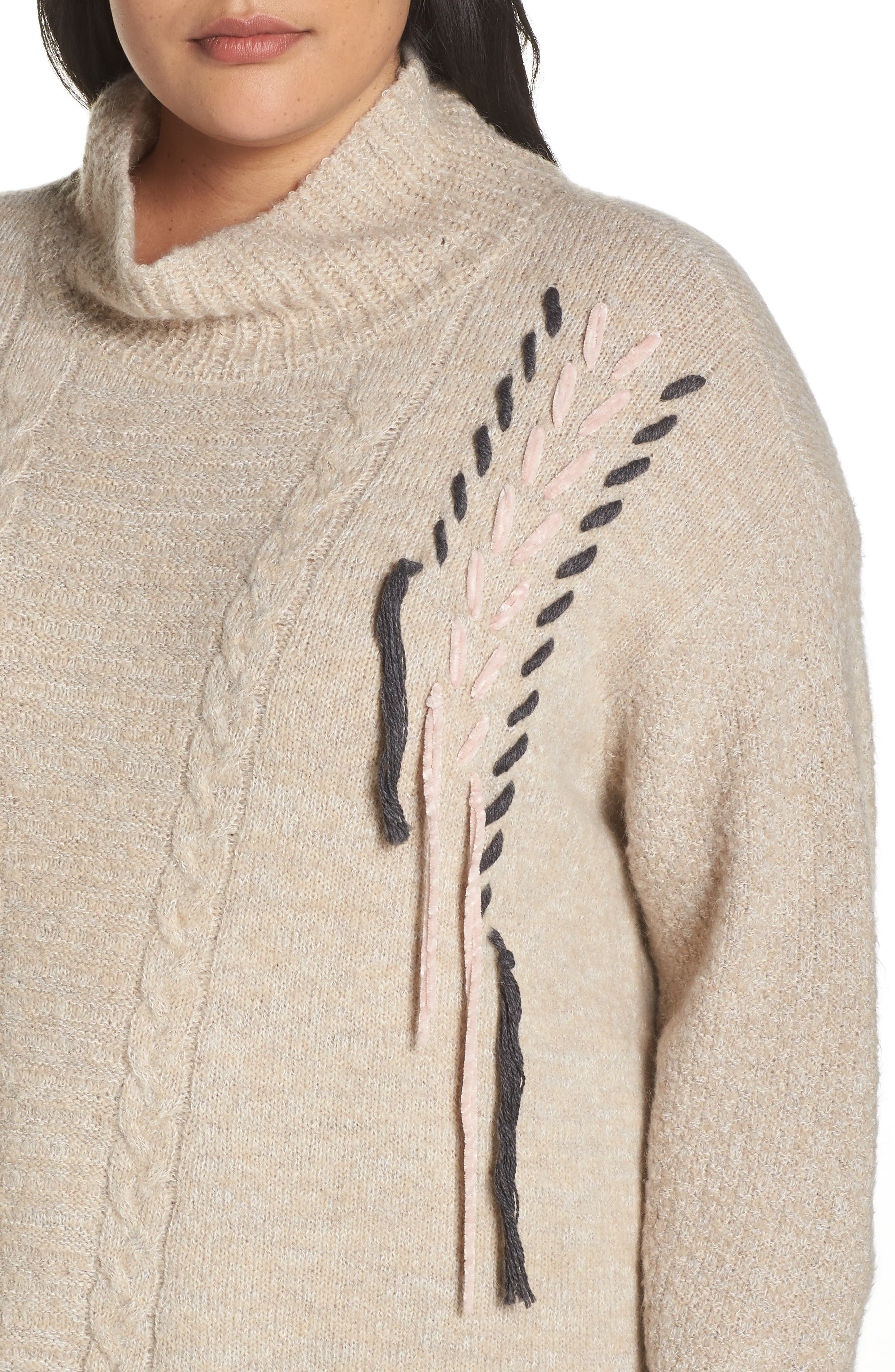 Mock Neck Cable Knit Sweater,                             Alternate thumbnail 4, color,                             230