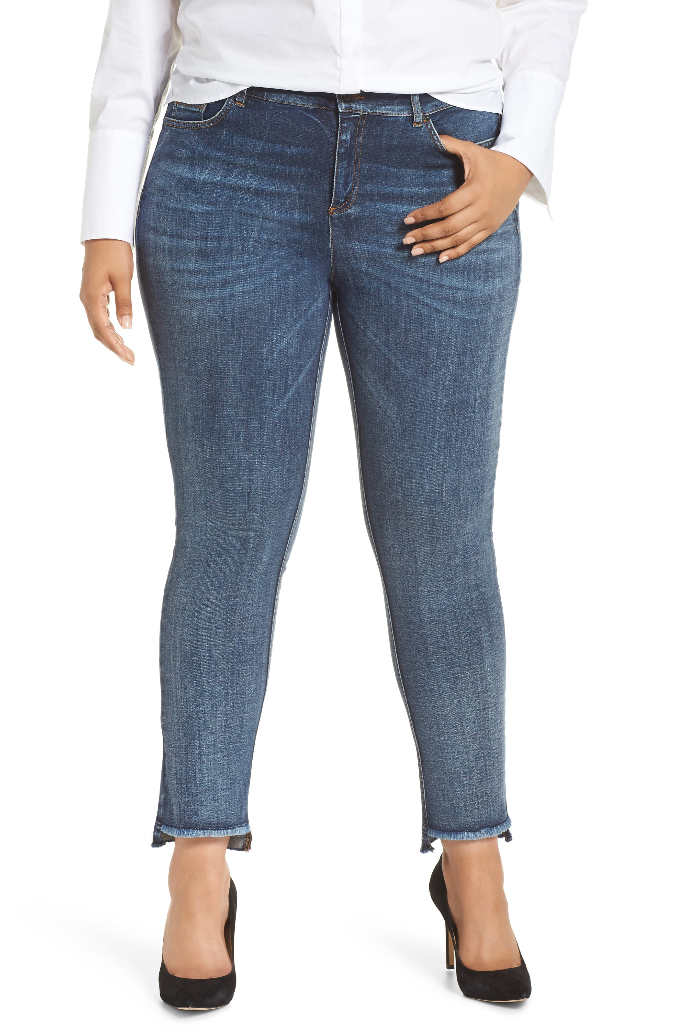 ASHLEY GRAHAM X MARINA RINALDI I Idruro High Rise Slim Leg Raw Hem Jeans in Sky Blue 2