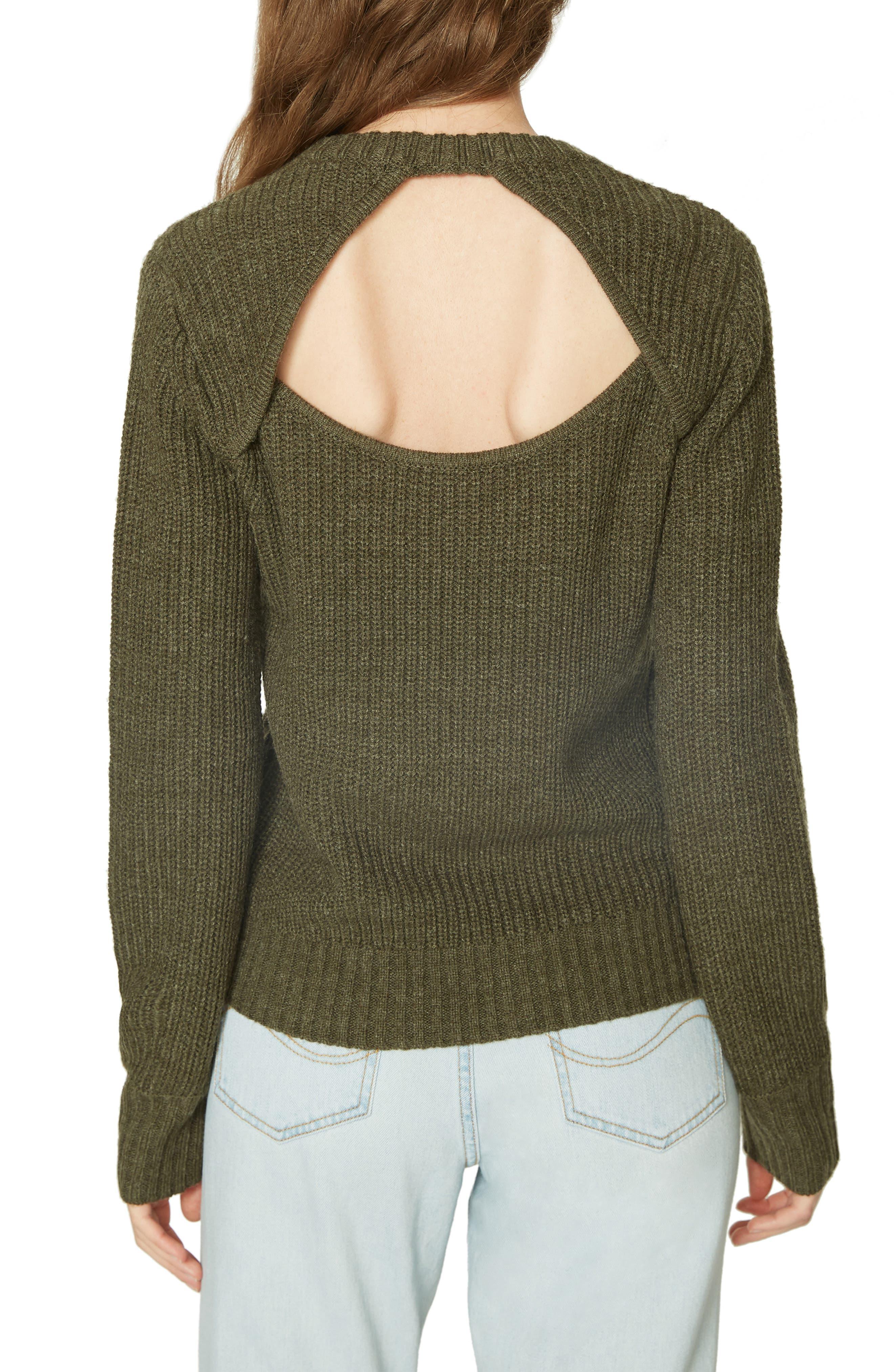 Open Back Sweater,                             Alternate thumbnail 2, color,                             HEATHER PROSPERITY GREEN