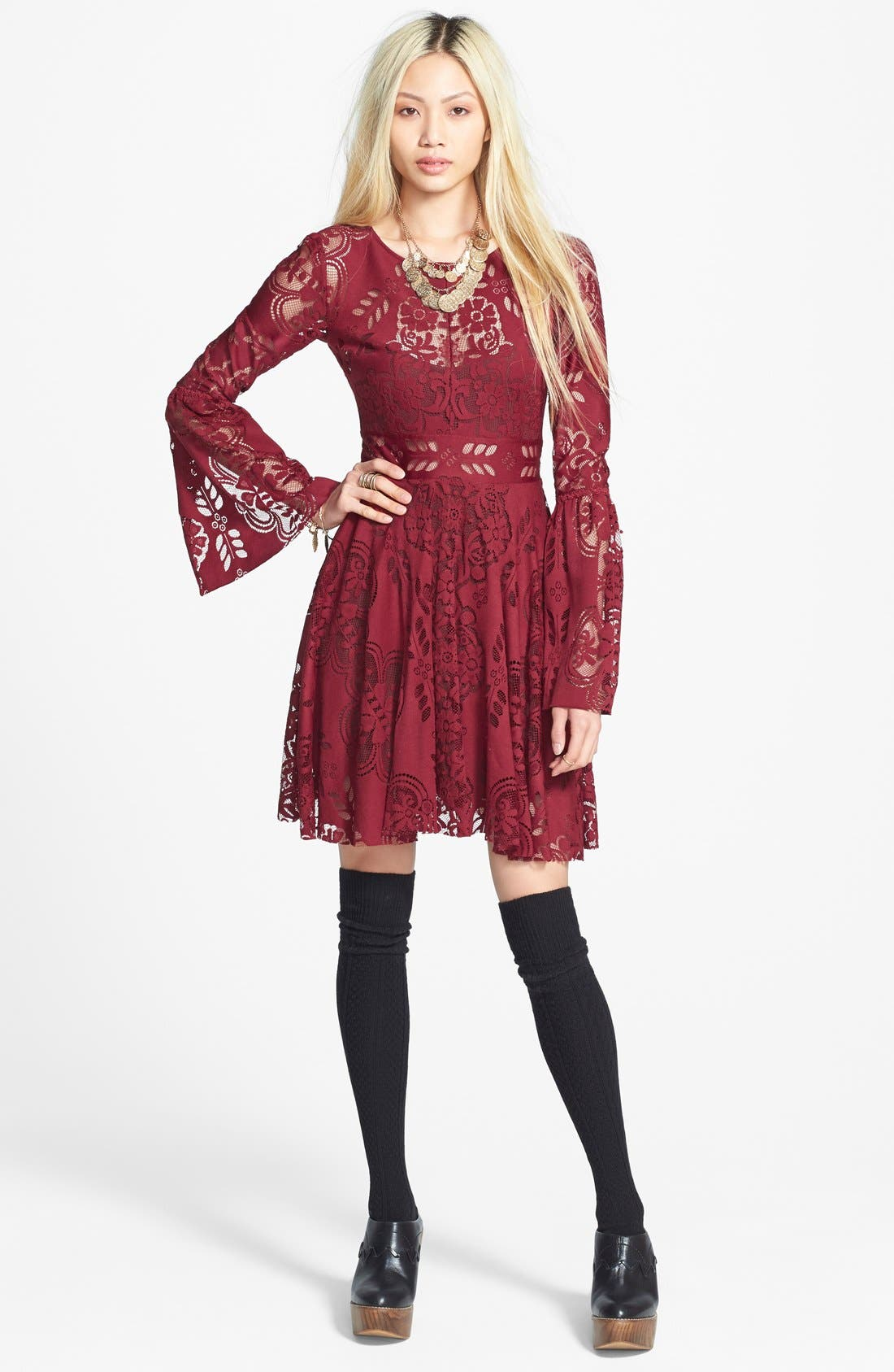 'Lace Lovers Folk Song' Bell Sleeve Cutout Skater Dress,                             Alternate thumbnail 8, color,