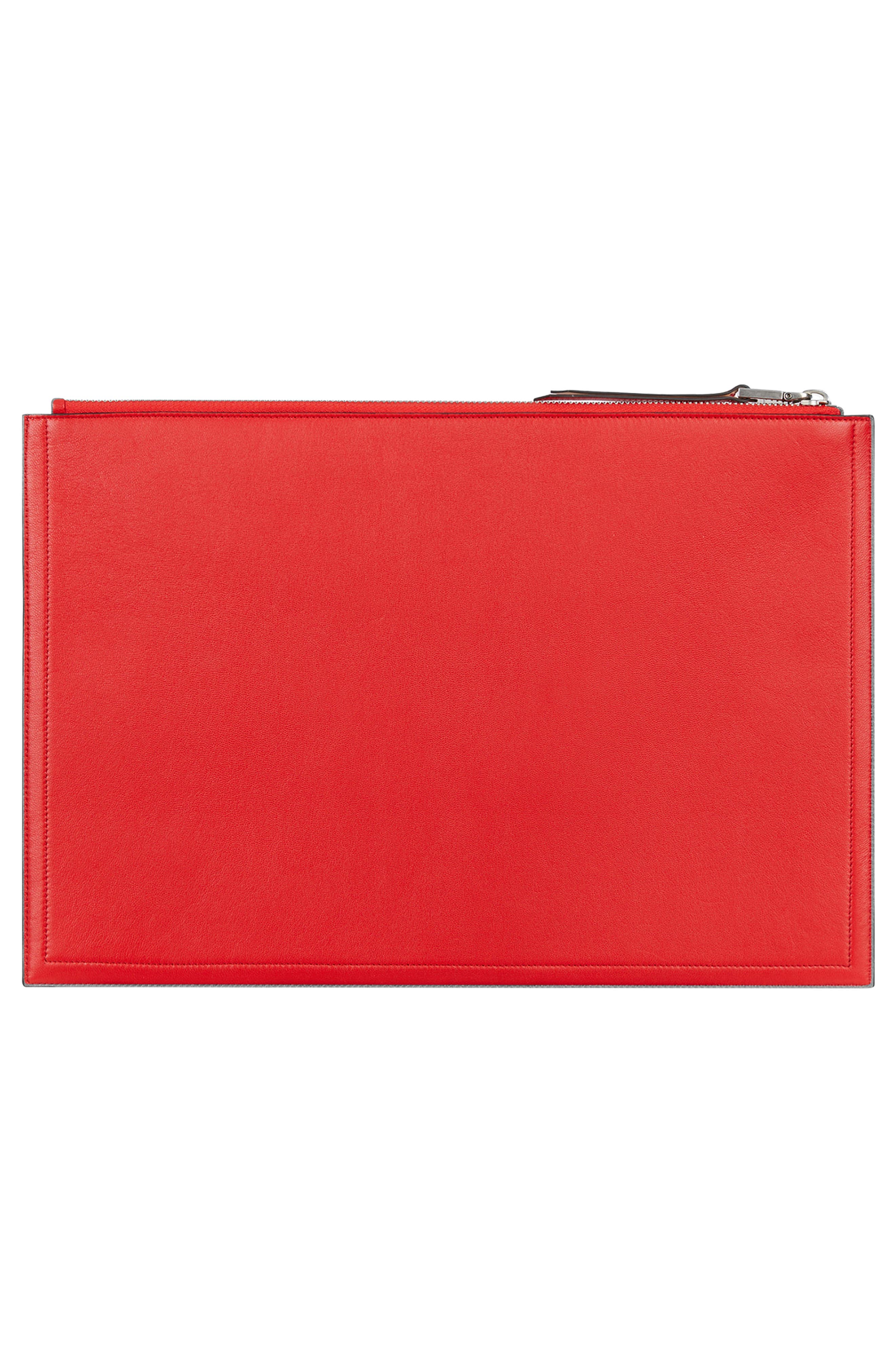 GIVENCHY,                             Embossed Logo Lambskin Leather Pouch,                             Alternate thumbnail 3, color,                             POPPY RED
