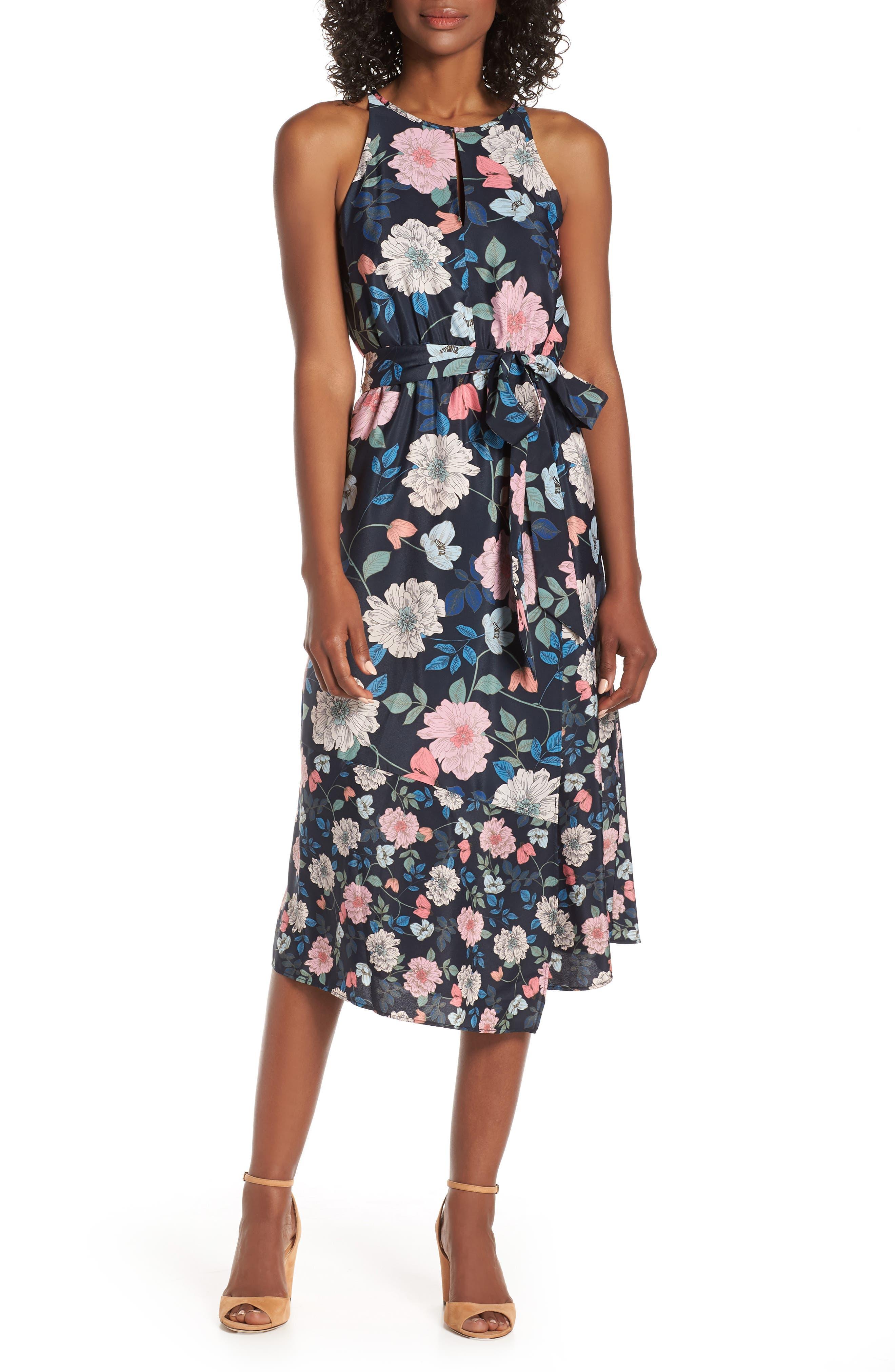 Vince Camuto Mixed Floral Print Halter Neck Midi Dress, Blue