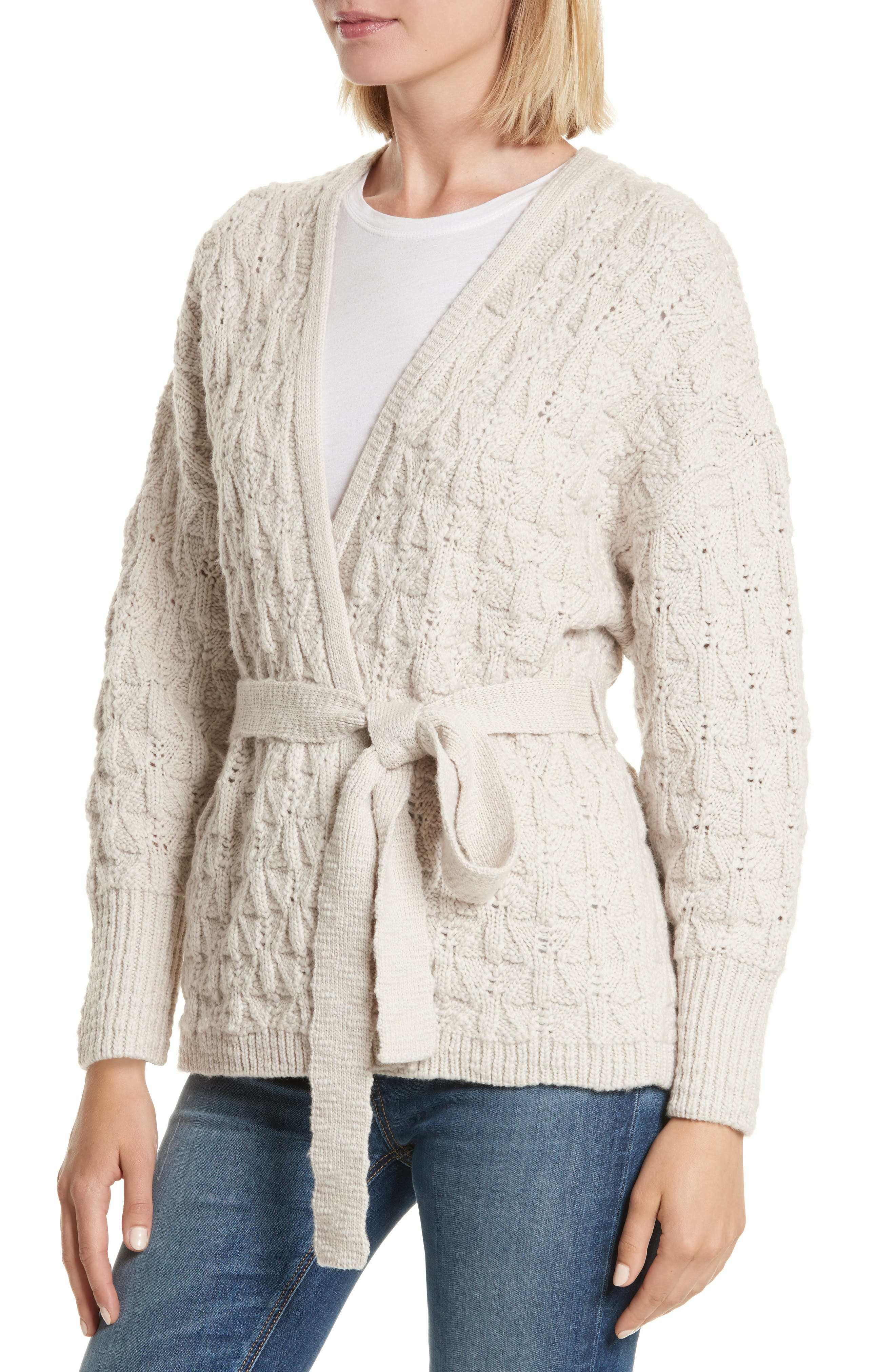 Belted Merino Wool Cardigan,                             Alternate thumbnail 4, color,                             285