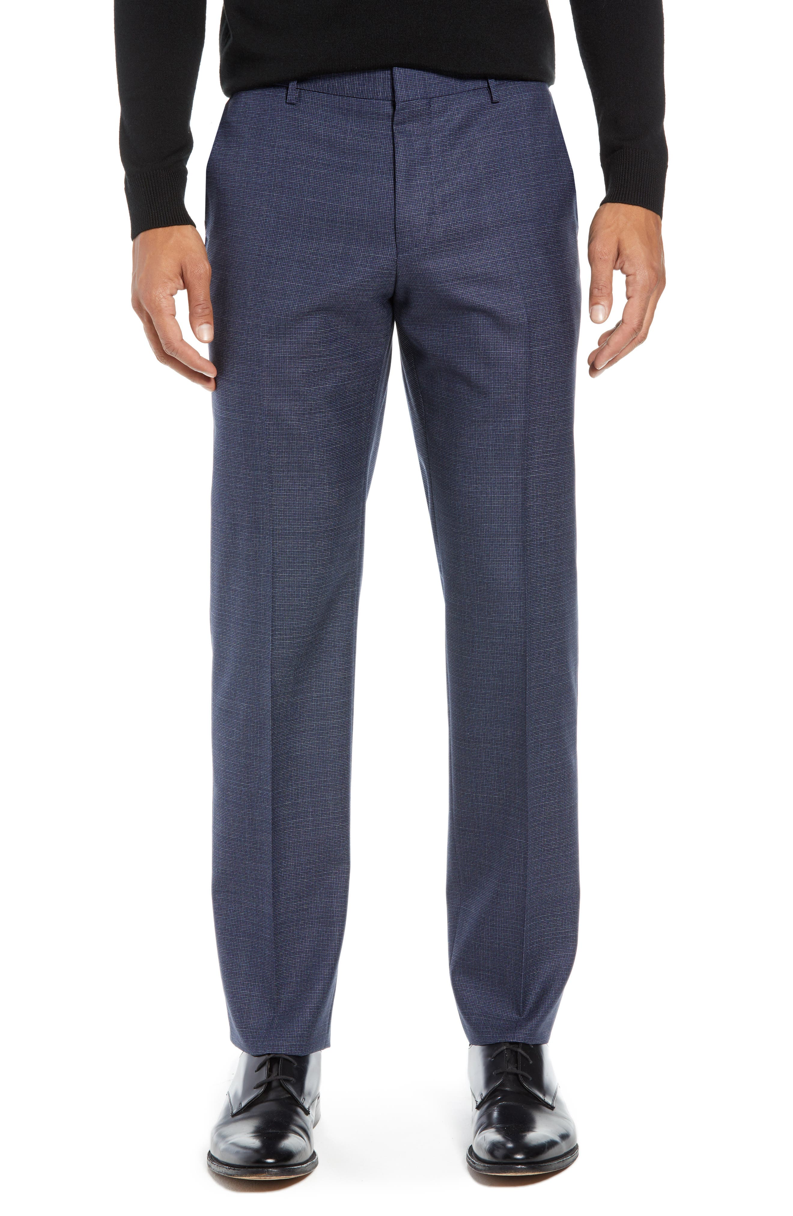 Novan/Ben Trim Fit Check Wool Suit,                             Alternate thumbnail 6, color,                             DARK BLUE
