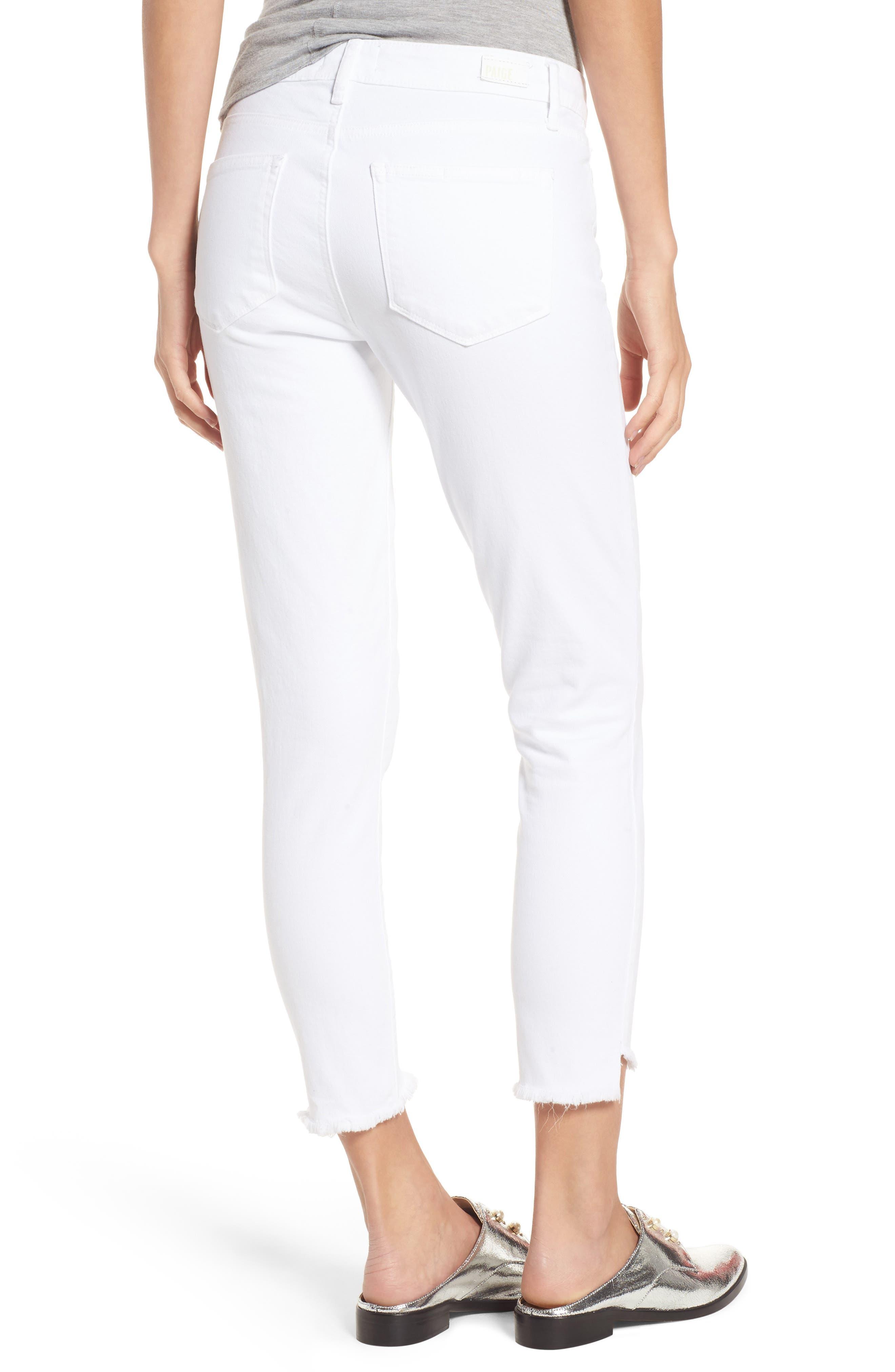 Verdugo Slanted Crop Skinny Jeans,                             Alternate thumbnail 2, color,                             CRISP WHITE