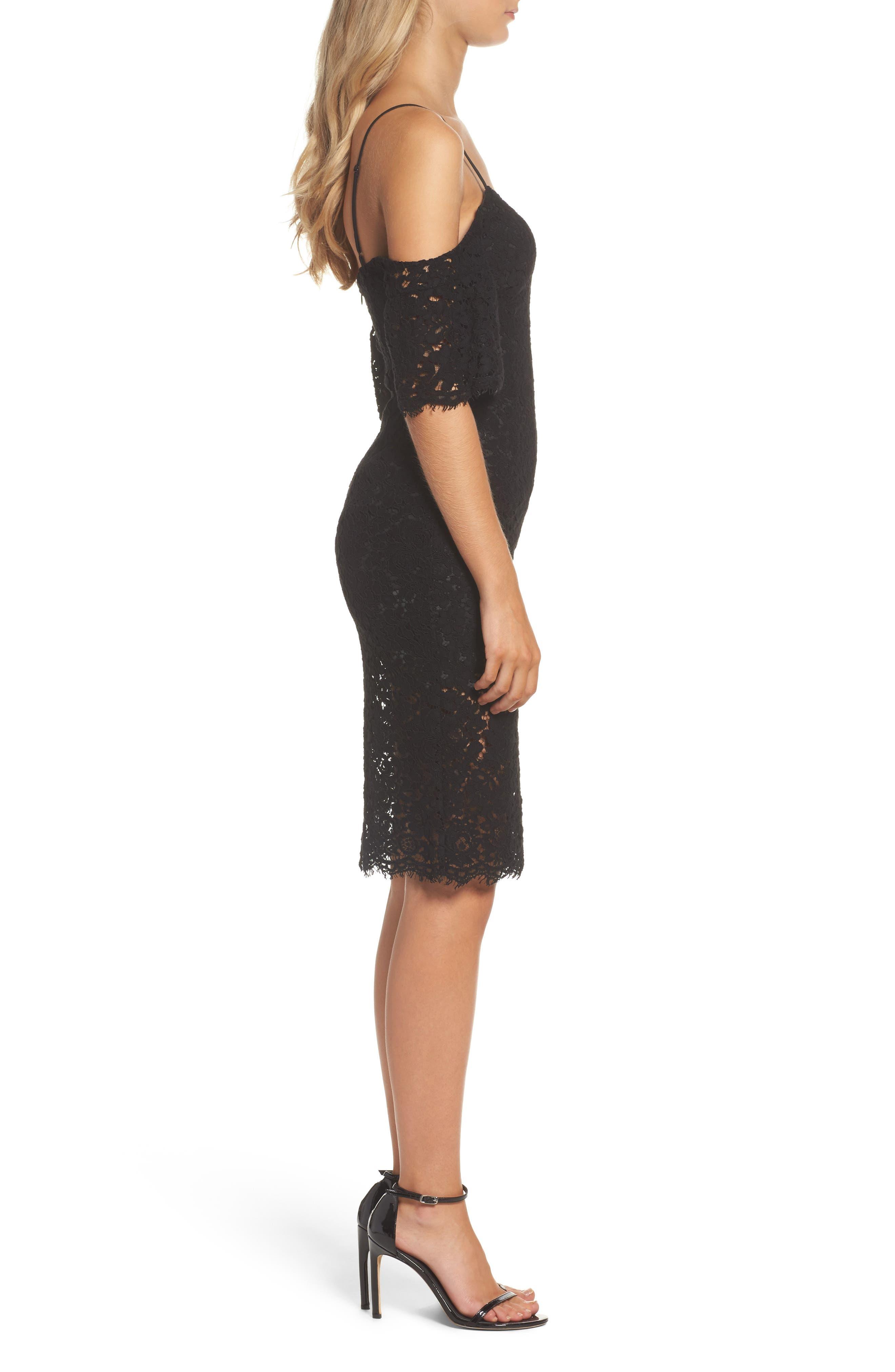 Karlie Cold Shoulder Lace Dress,                             Alternate thumbnail 3, color,                             001