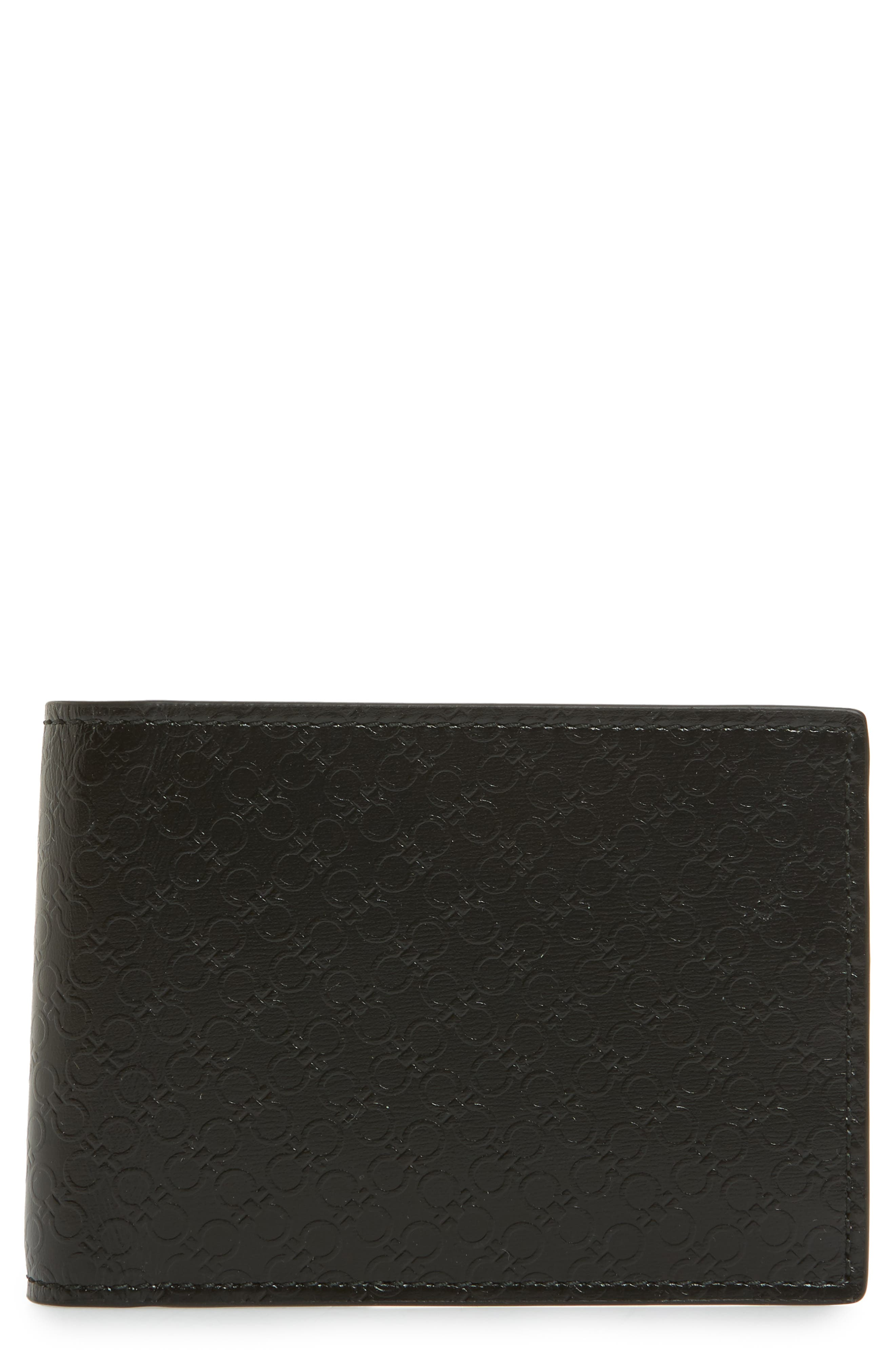 Gancini Leather Card Case,                         Main,                         color, 001