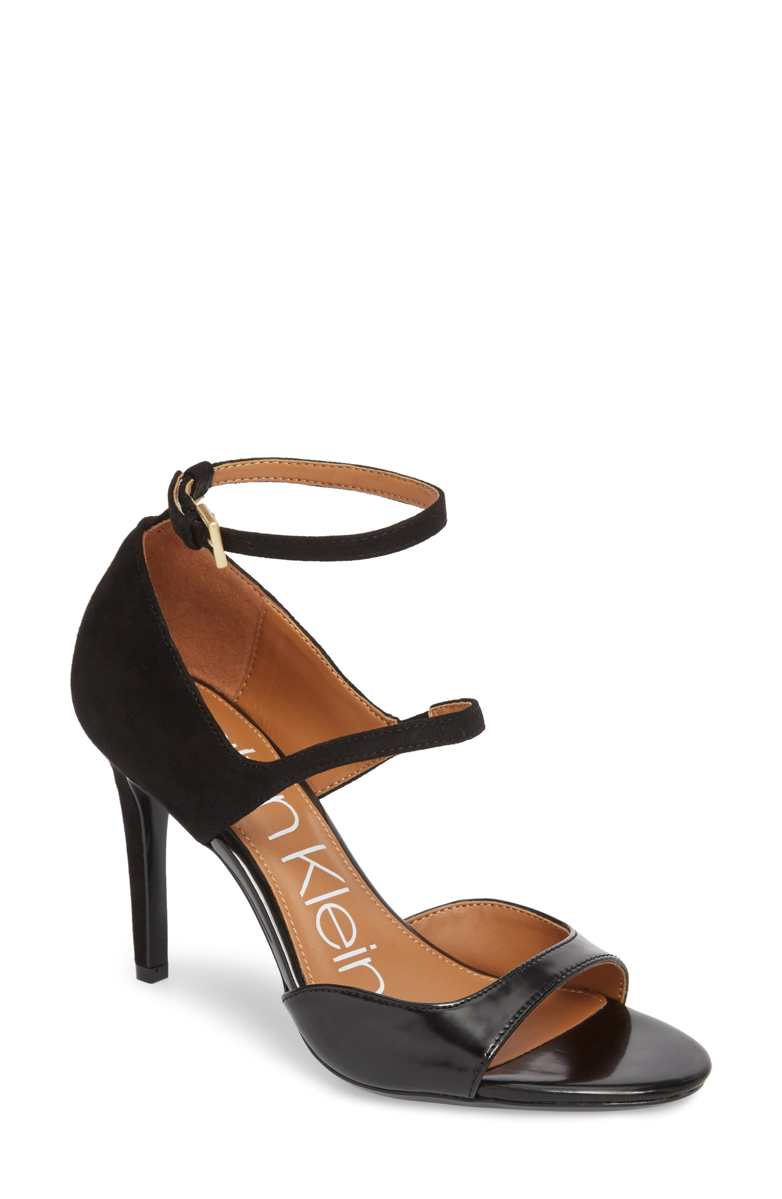 Nadeen Strappy Sandal,                             Main thumbnail 1, color,                             BLACK LEATHER
