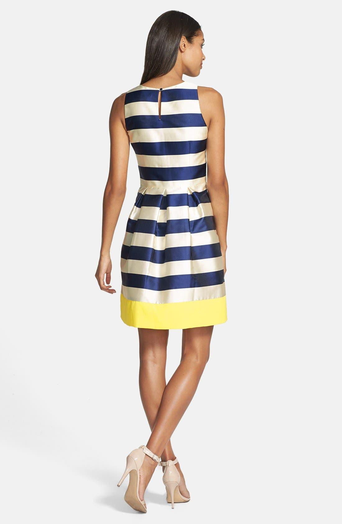 ELIZA J,                             Stripe Fit & Flare Dress,                             Alternate thumbnail 2, color,                             410