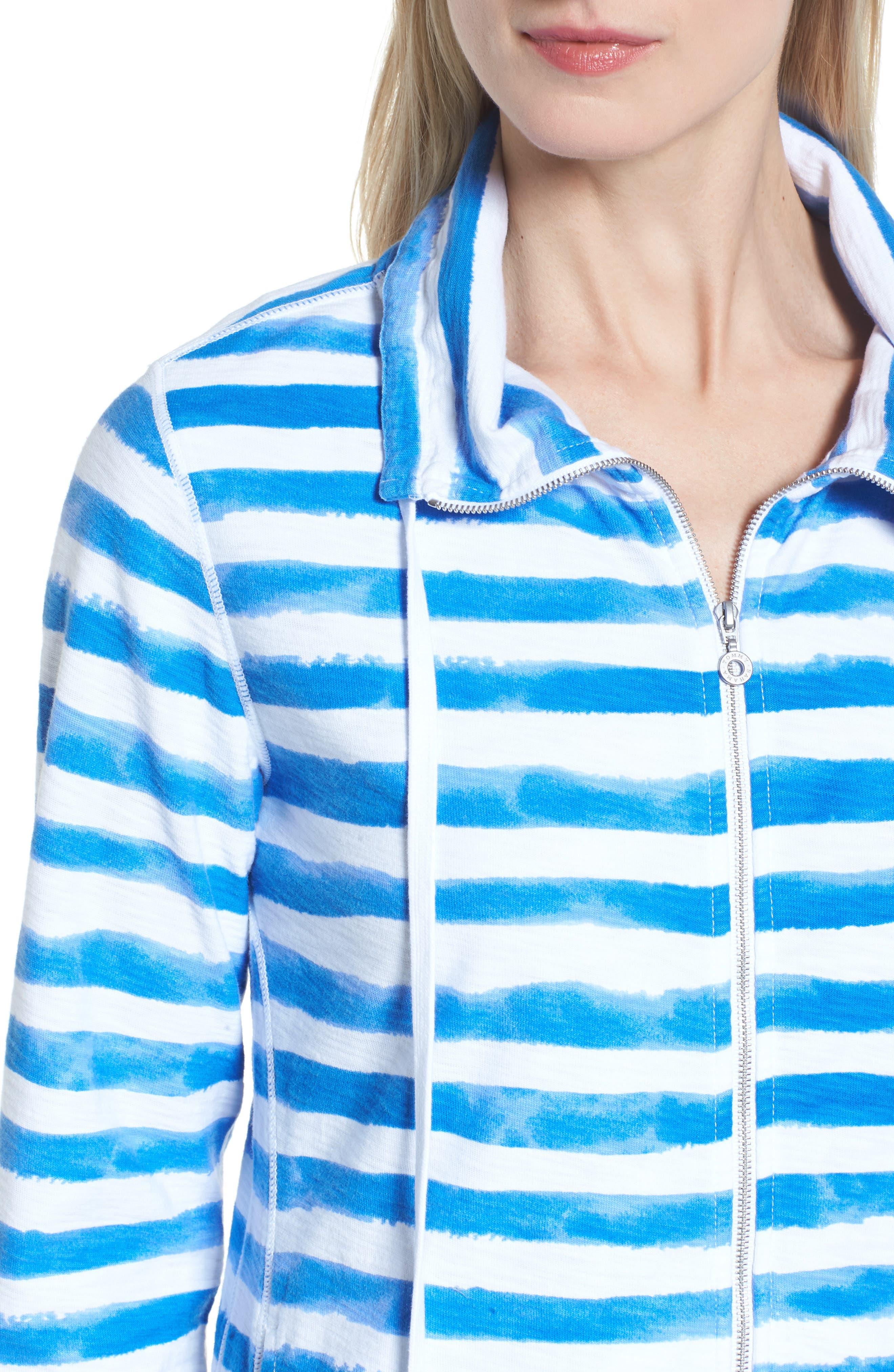 Knoll Bellarossa Stripe Front Zip Jacket,                             Alternate thumbnail 4, color,                             COBALT