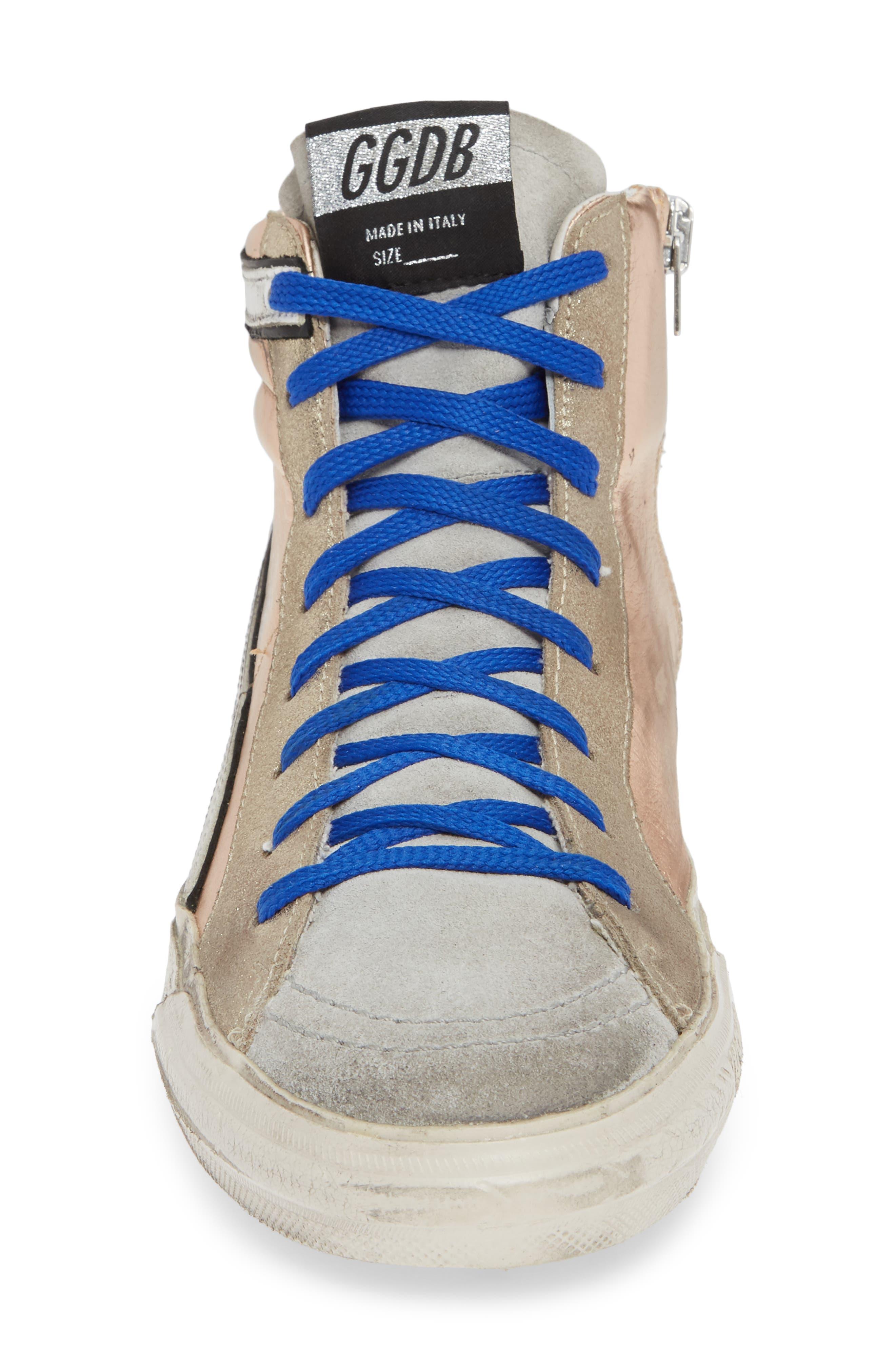High Top Sneaker,                             Alternate thumbnail 4, color,                             ROSE GOLD/ GREY
