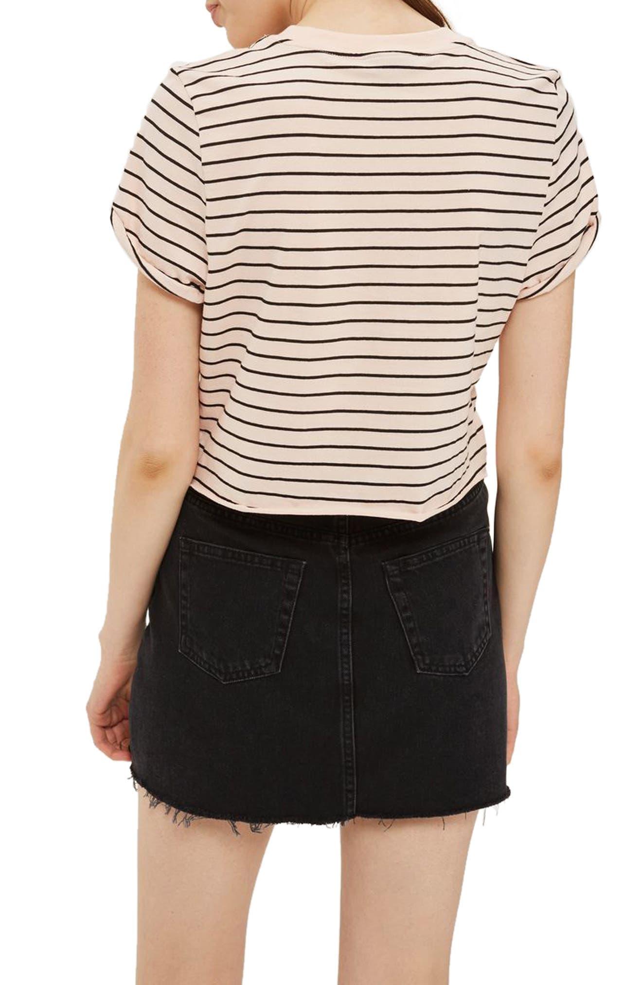 Lace-Up Denim Miniskirt,                             Alternate thumbnail 2, color,                             001