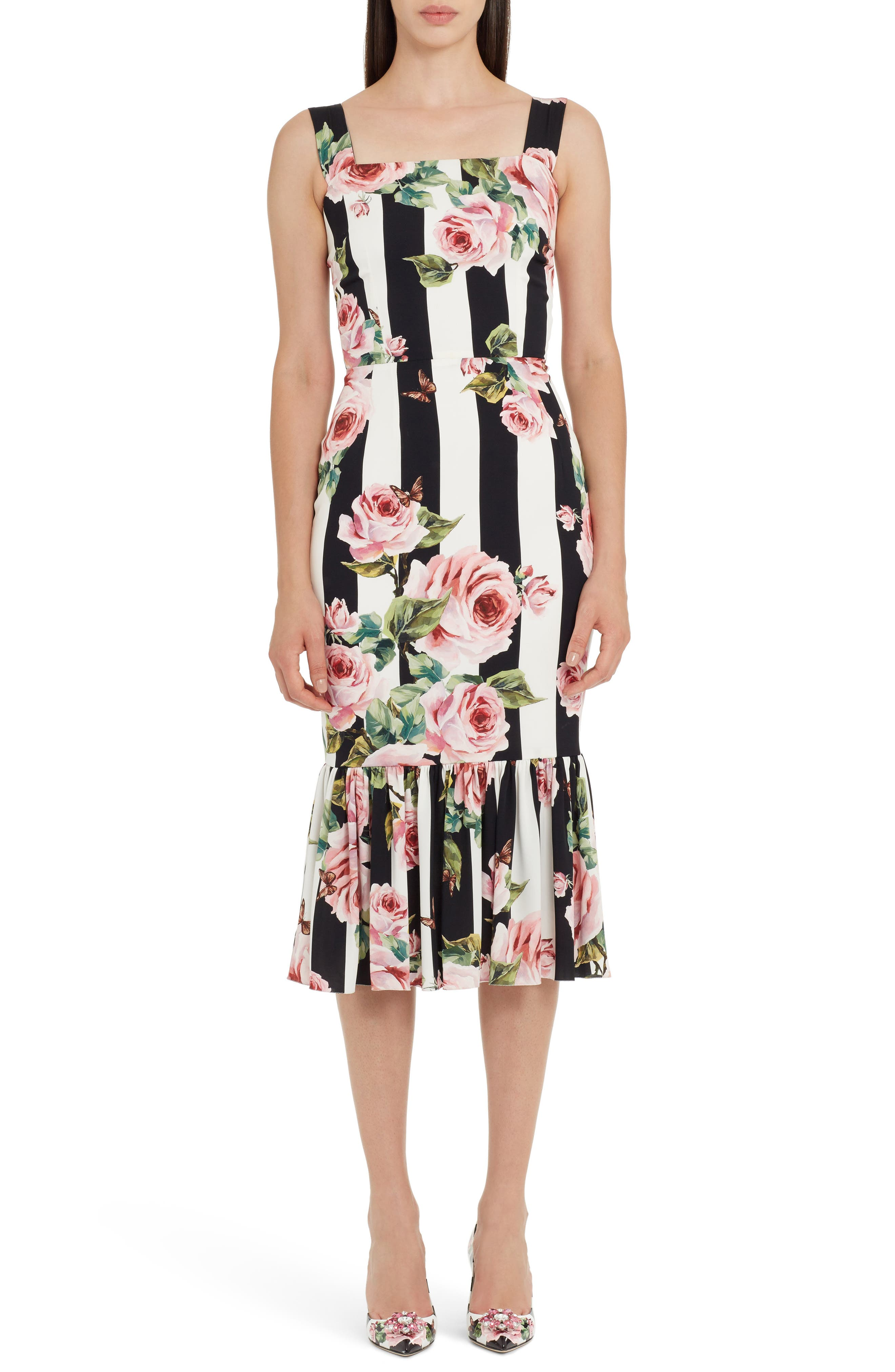Stripe Rose Print Stretch Silk Dress,                         Main,                         color, 115
