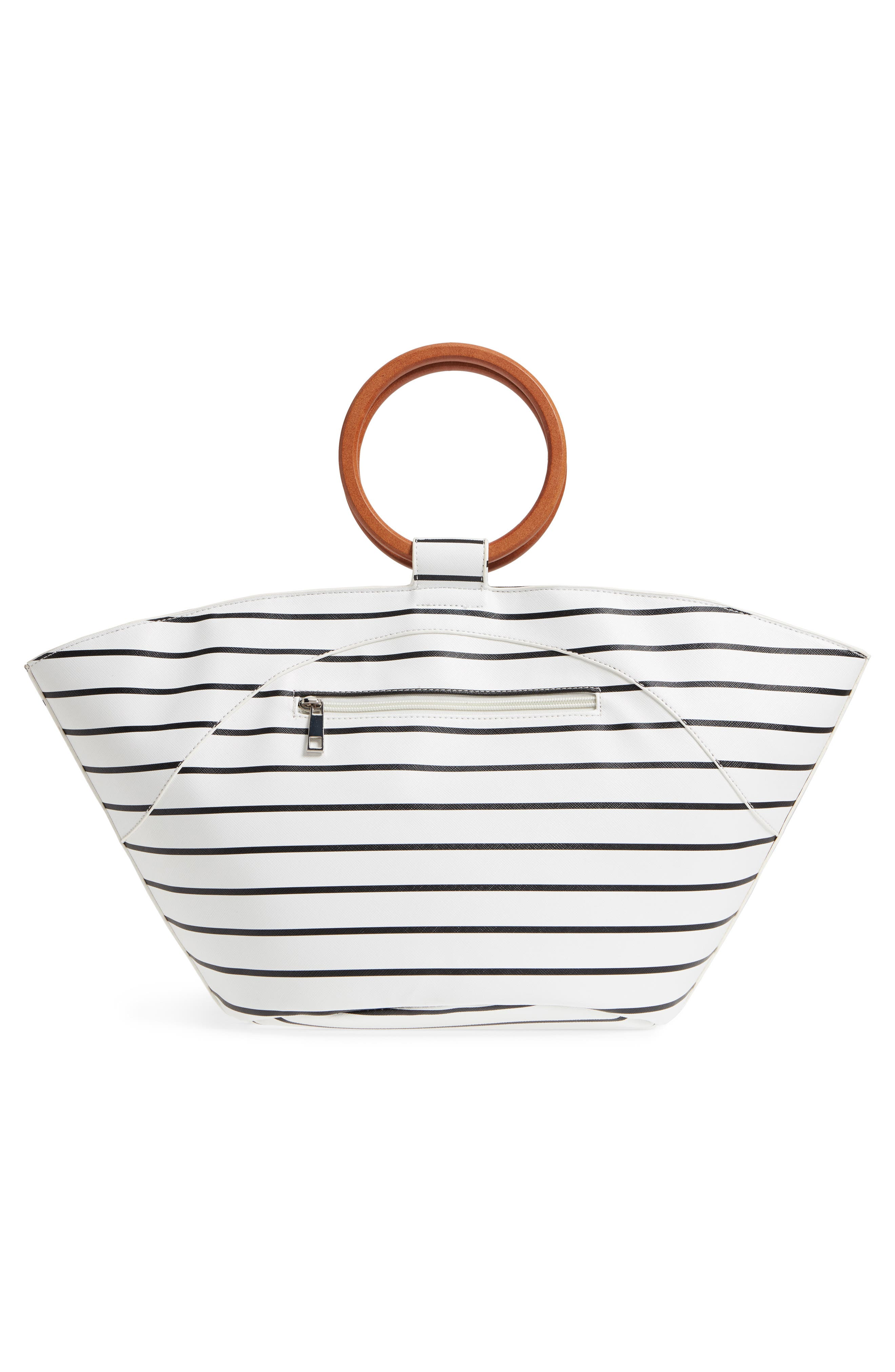 Wooden Ring Stripe Tote,                             Alternate thumbnail 3, color,                             103
