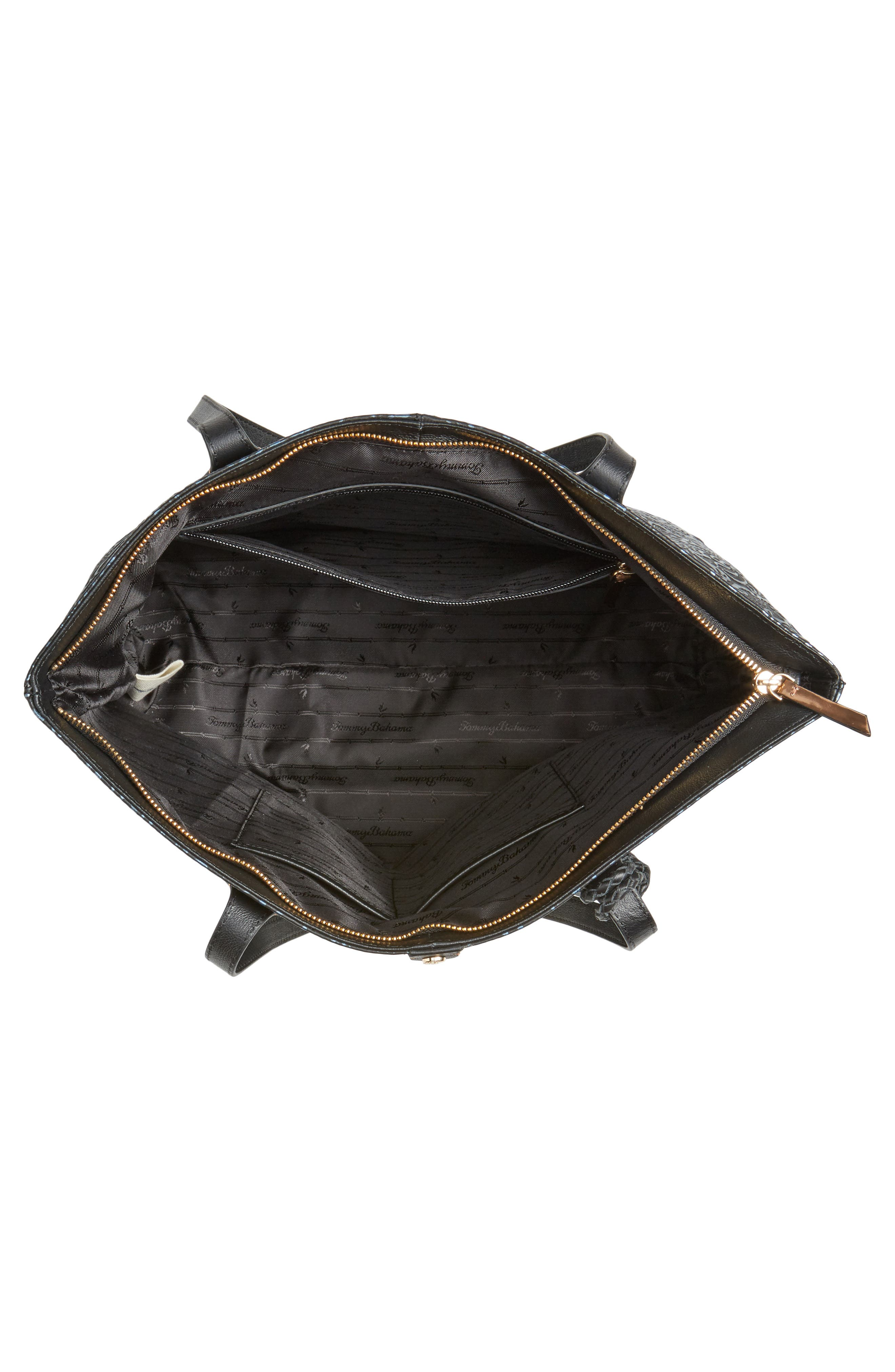 Barbados Leather Tote,                             Alternate thumbnail 4, color,                             001