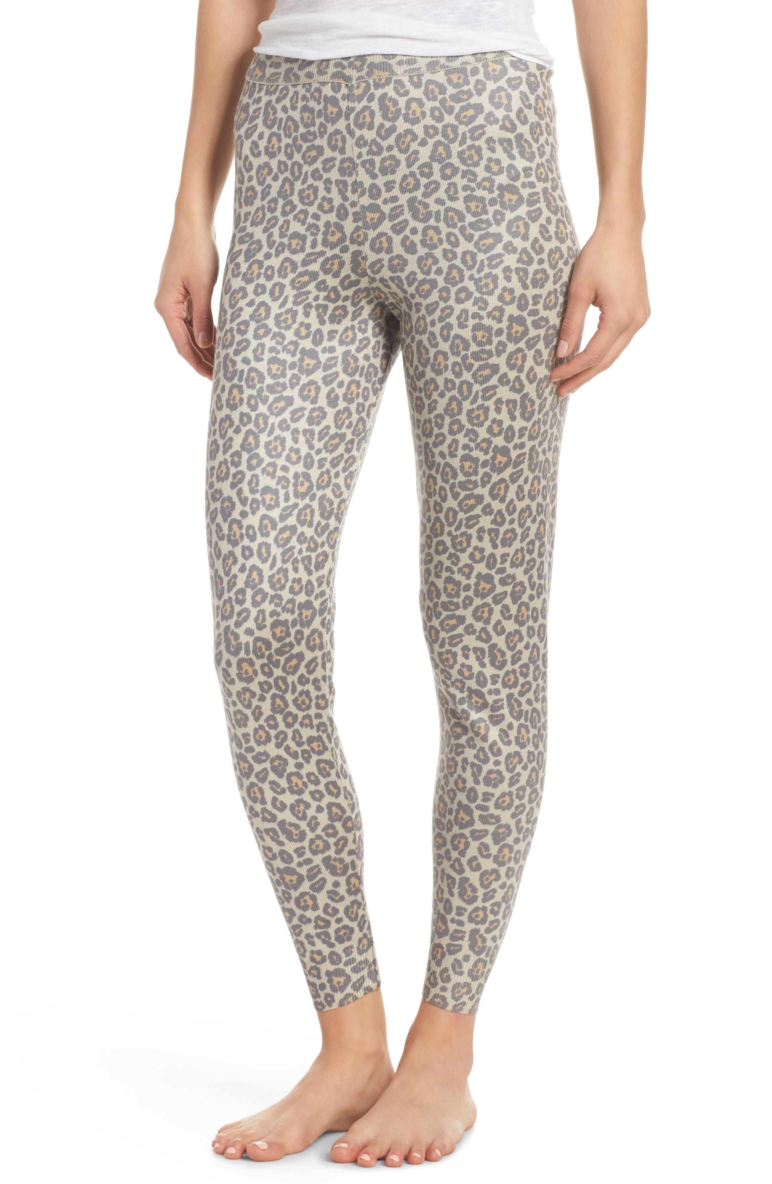 Leopard Knit Lounge Pant,                         Main,                         color, BEIGE LEOPARD