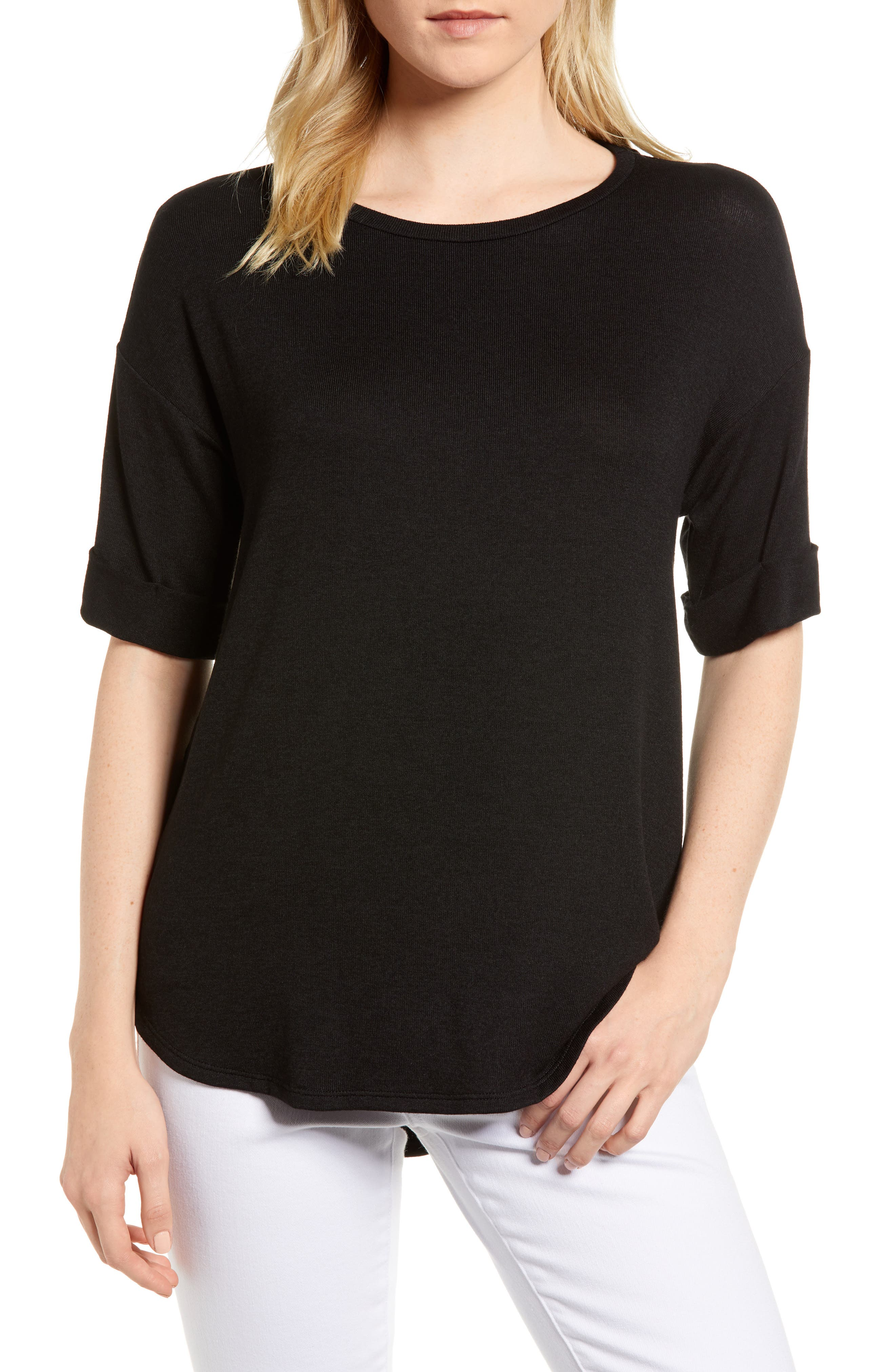 High/Low Short Sleeve Top,                         Main,                         color, 001