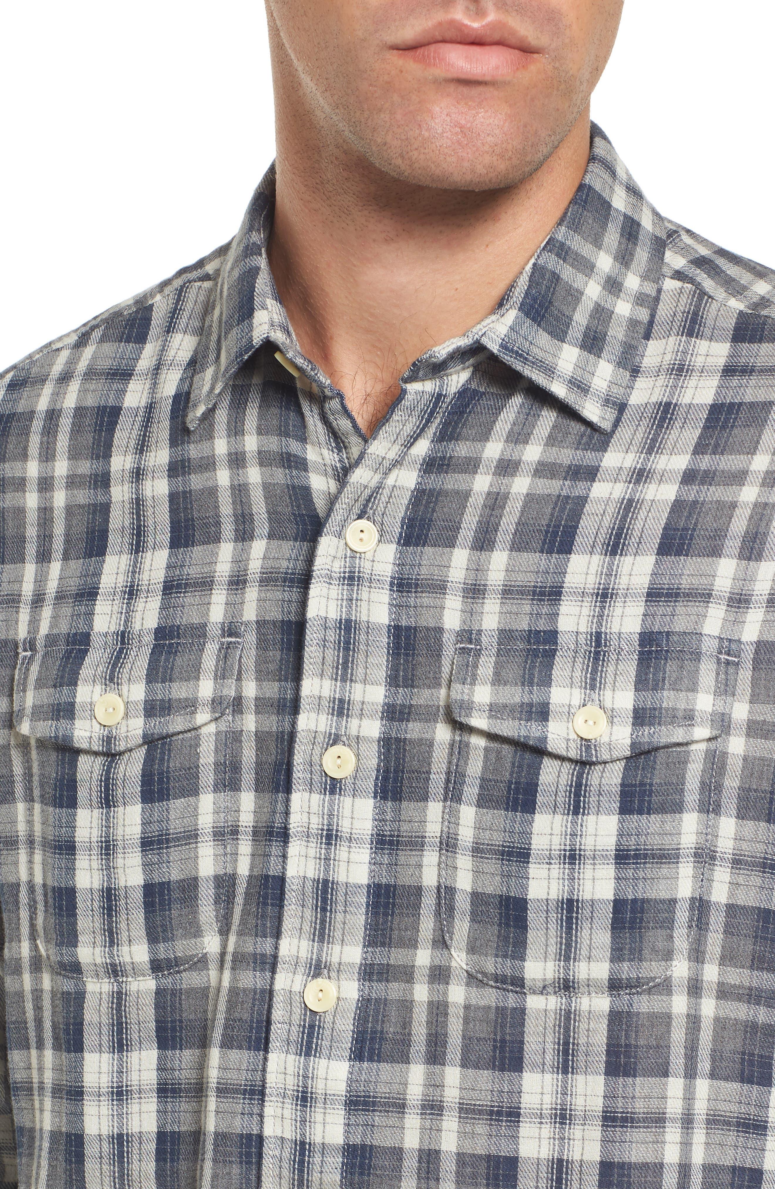Saratoga Modern Fit Plaid Double Cloth Sport Shirt,                             Alternate thumbnail 4, color,                             060