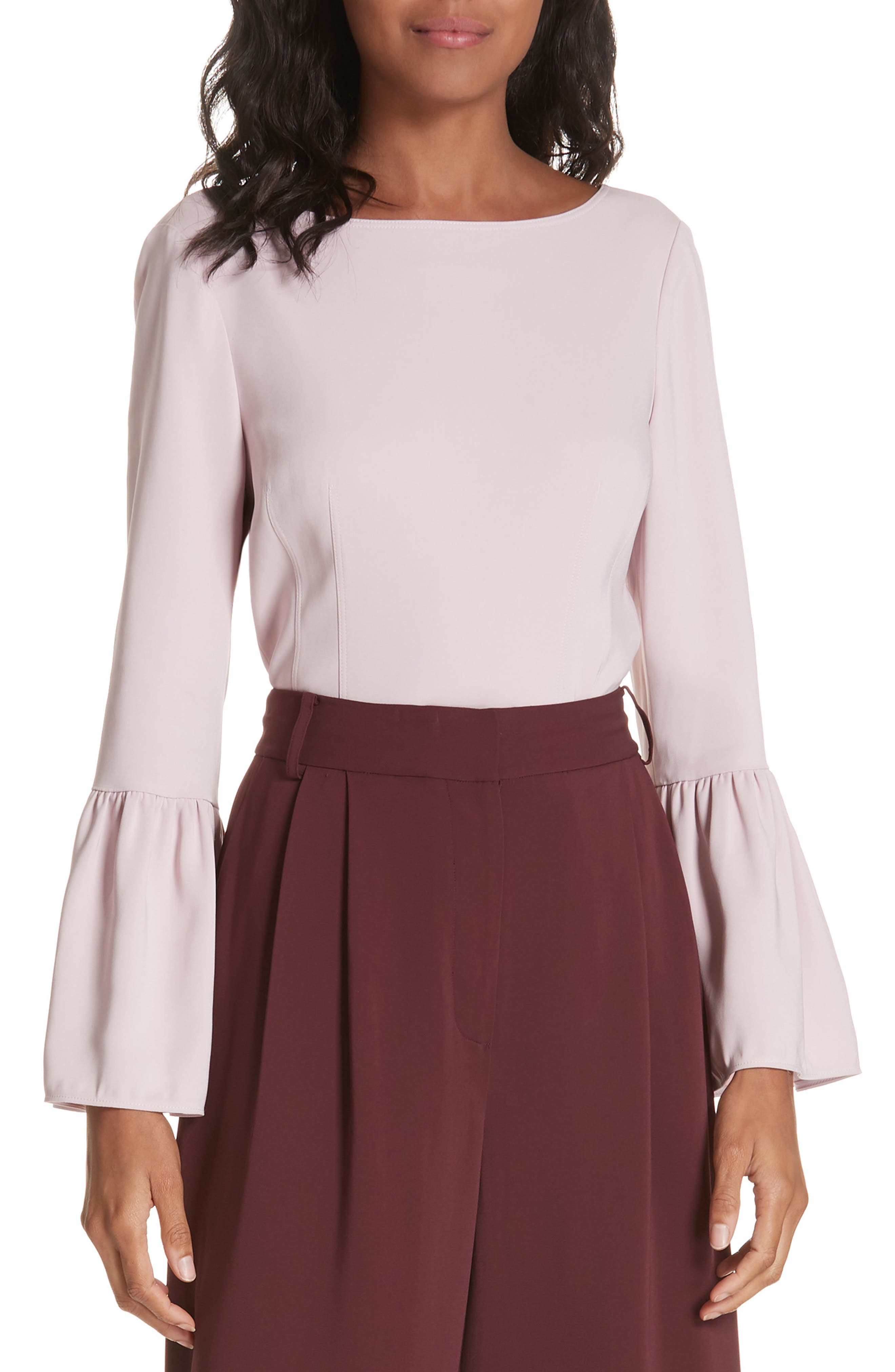 Stretch Suiting Bell Sleeve Top, Main, color, PINK LILAC