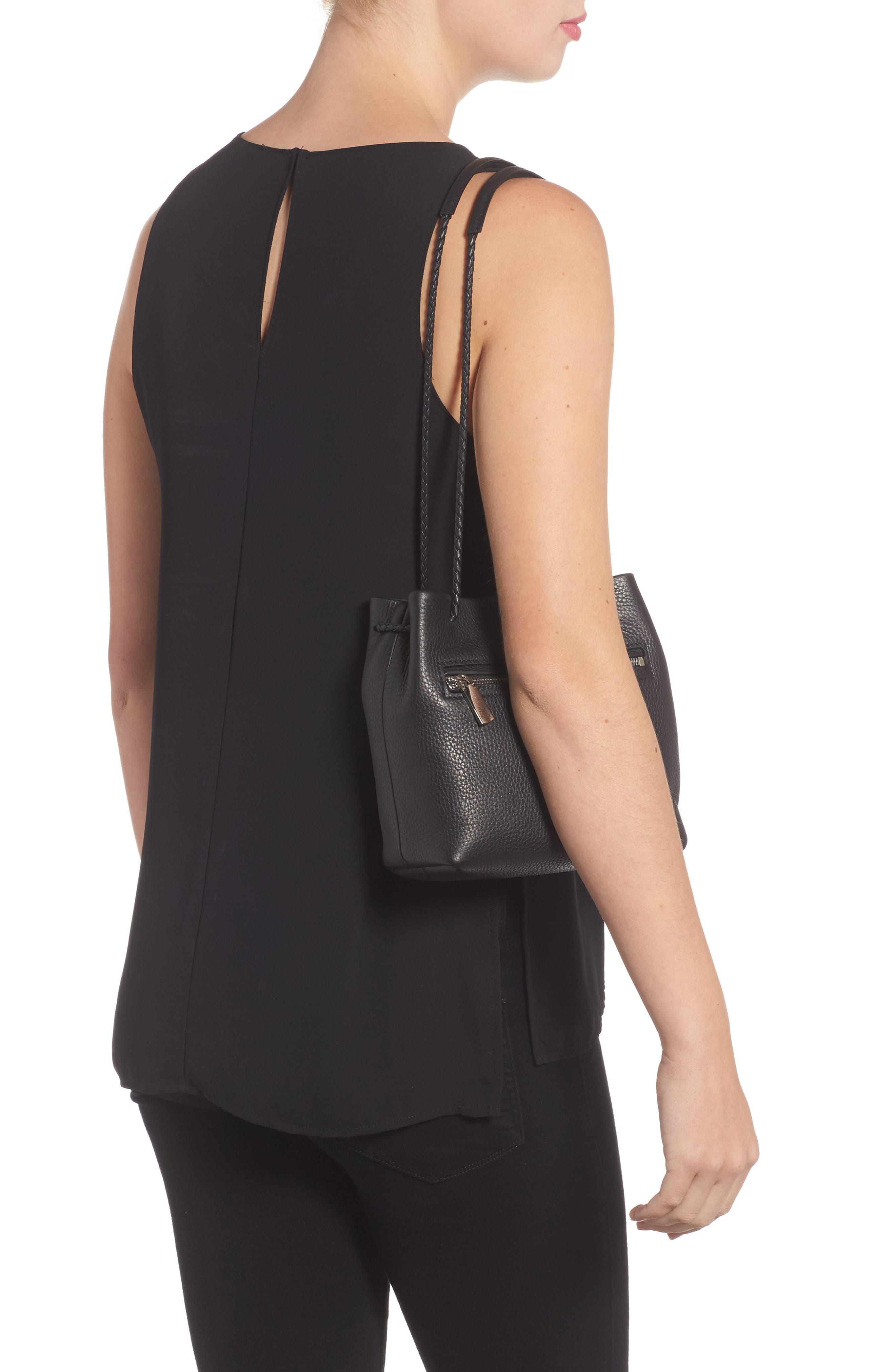 Mini Pebbled Leather Drawstring Crossbody Bag,                             Alternate thumbnail 2, color,                             001