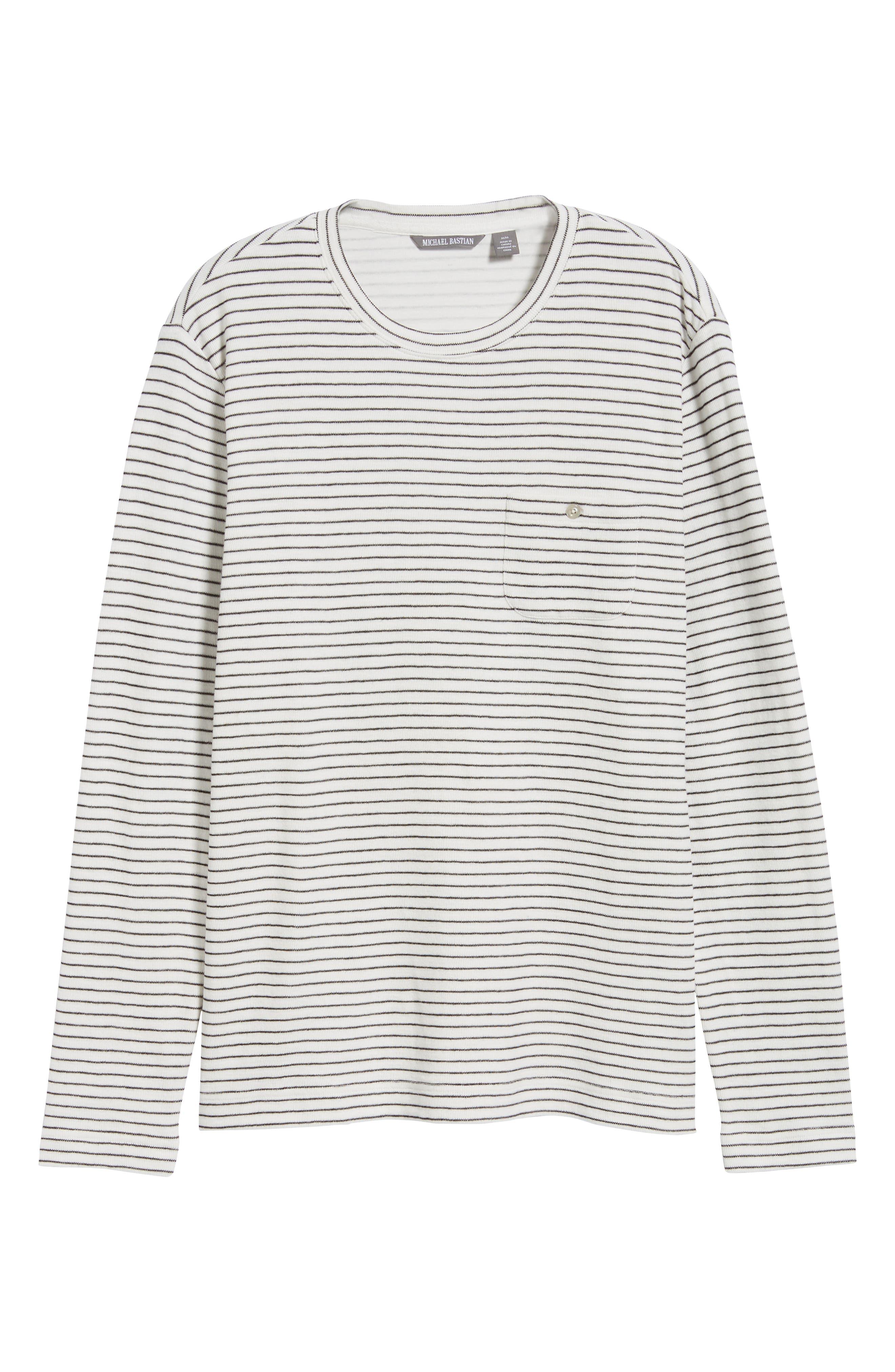 Stripe Long Sleeve Pocket T-Shirt,                             Alternate thumbnail 6, color,                             NATURAL