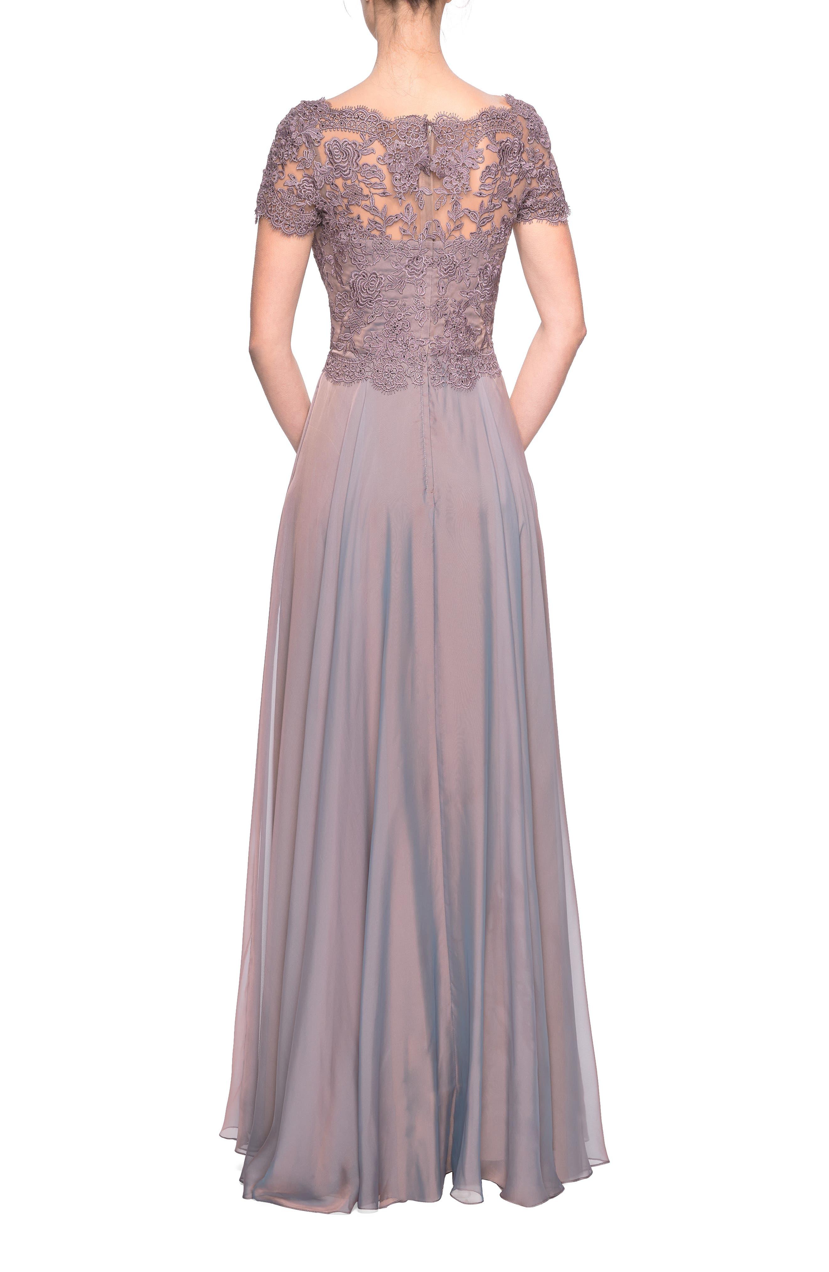 LA FEMME,                             Embroidered Lace & Chiffon Evening Dress,                             Alternate thumbnail 2, color,                             COCOA