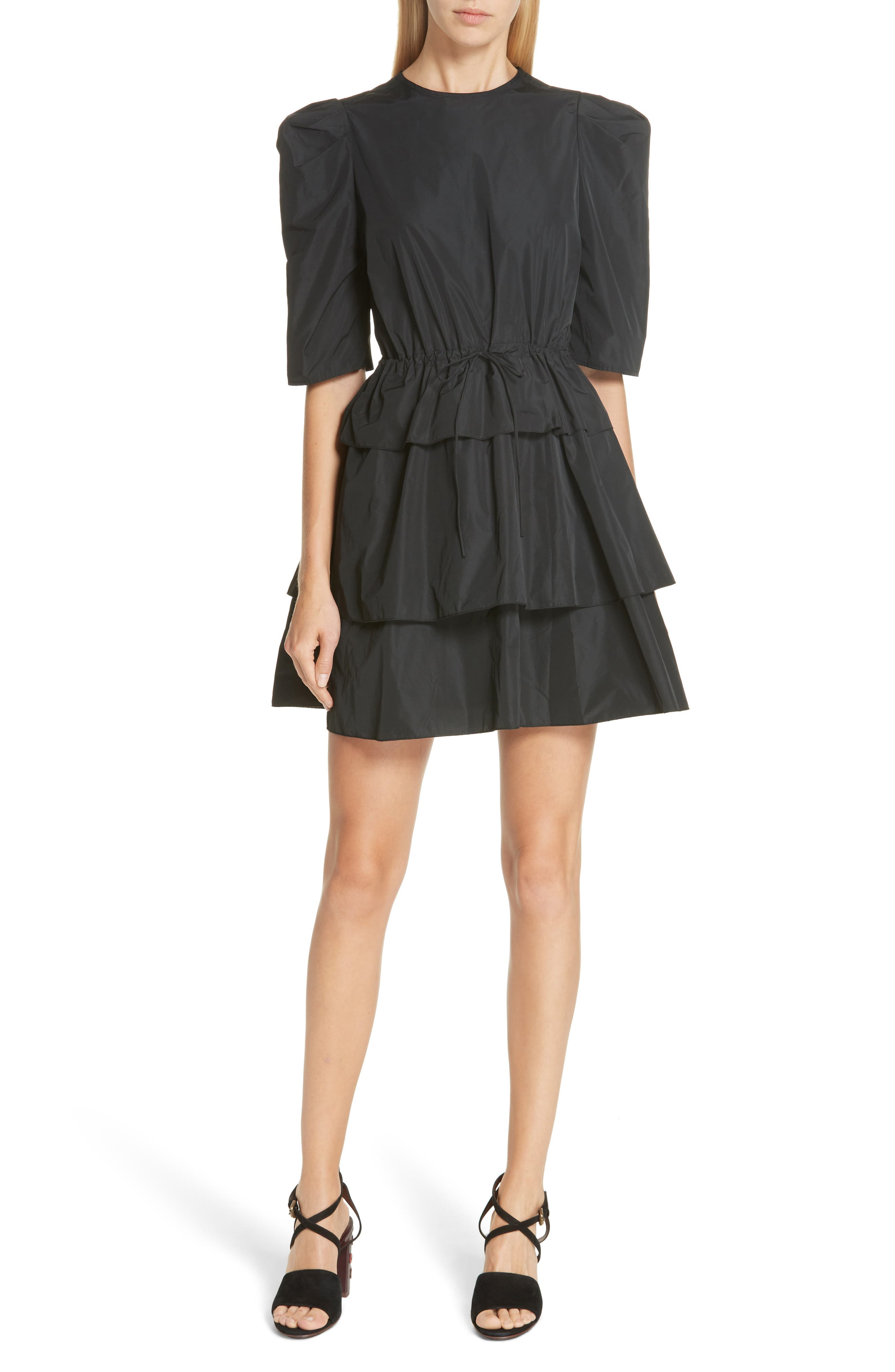 See By Chloe Ruffle Minidress, 4 FR - Black