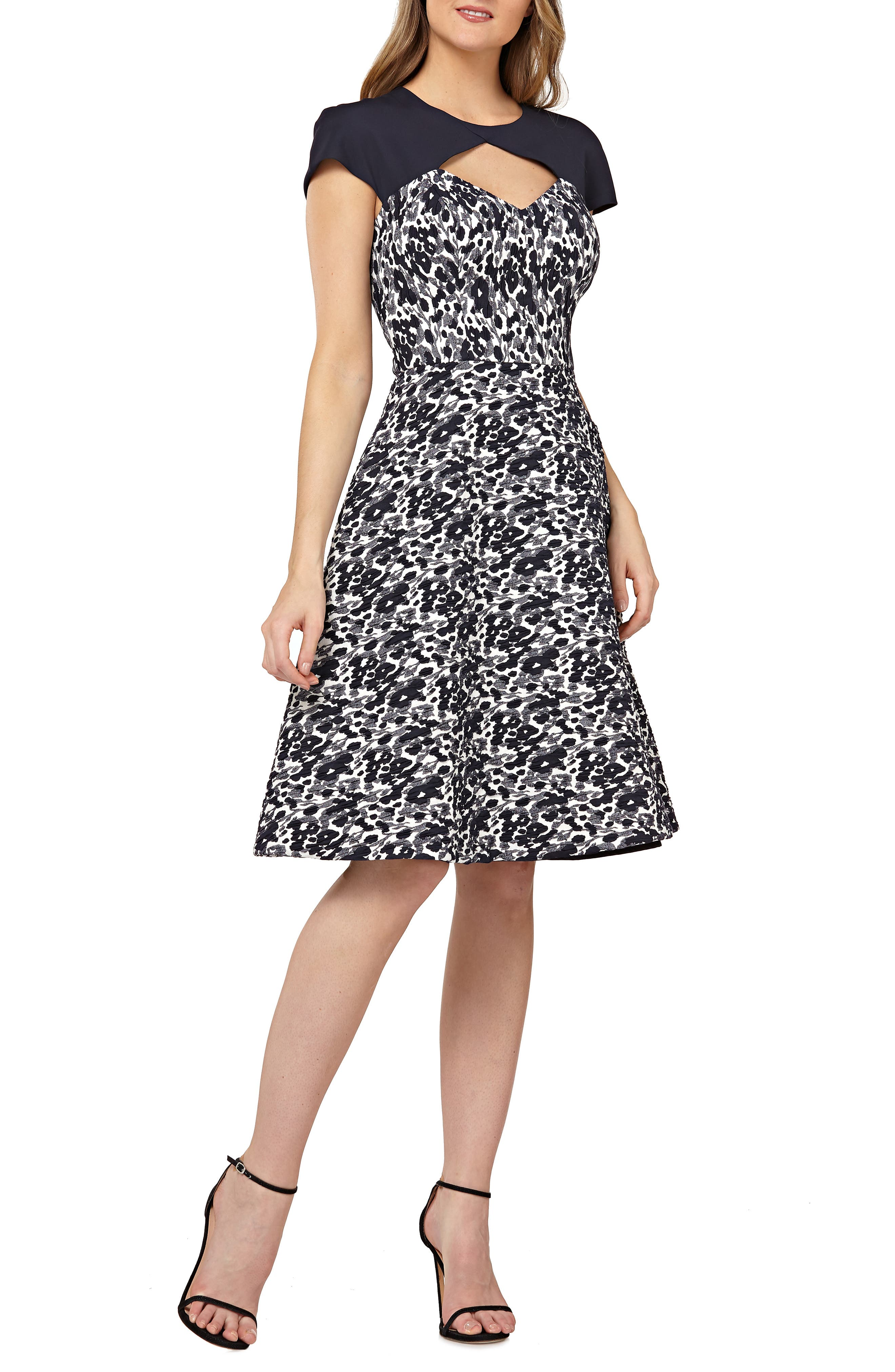 KAY UNGER Cutout Cocktail Dress in Navy Multi