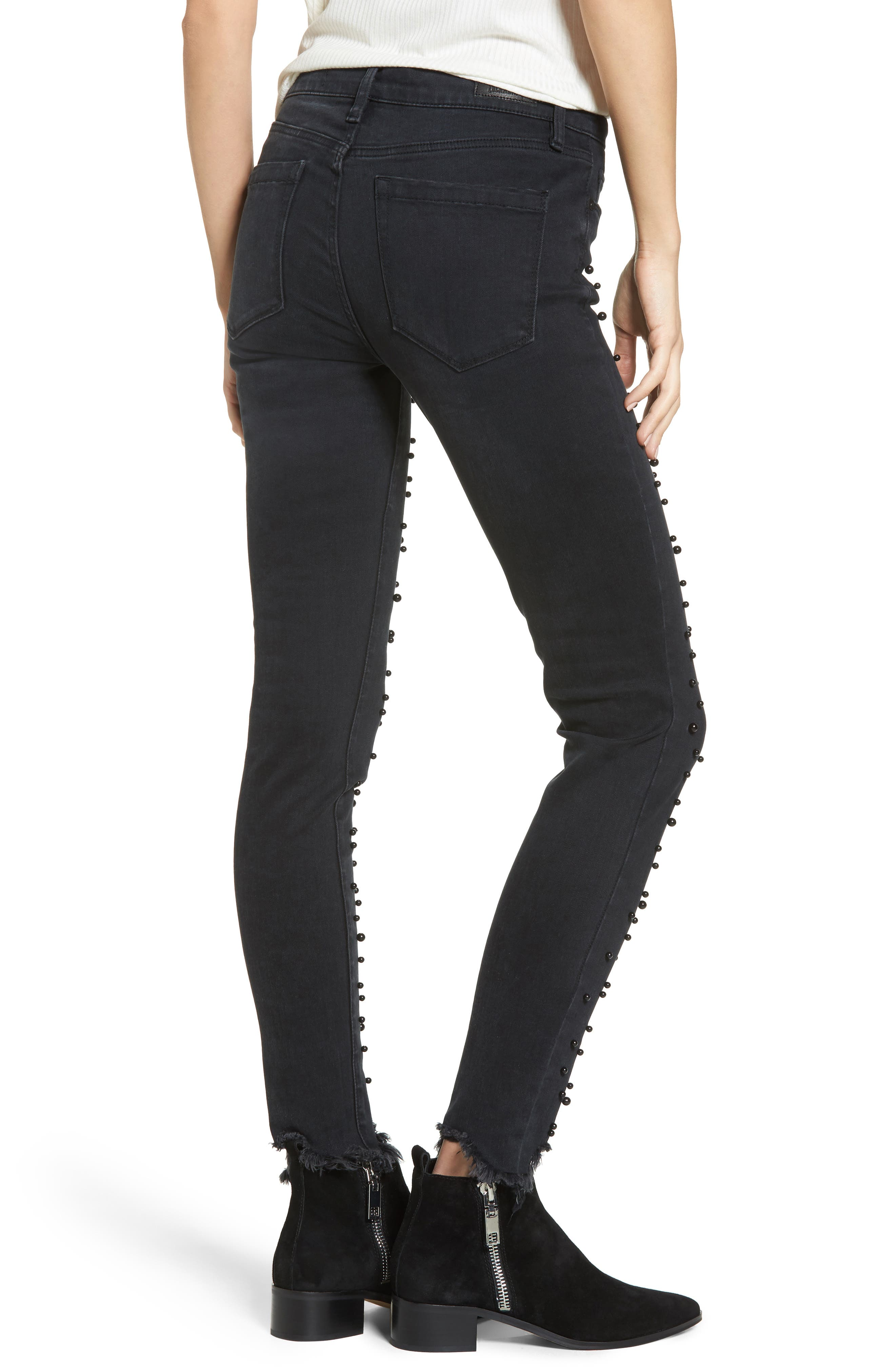 Faux Pearl Embellished Skinny Jeans,                             Alternate thumbnail 2, color,                             001