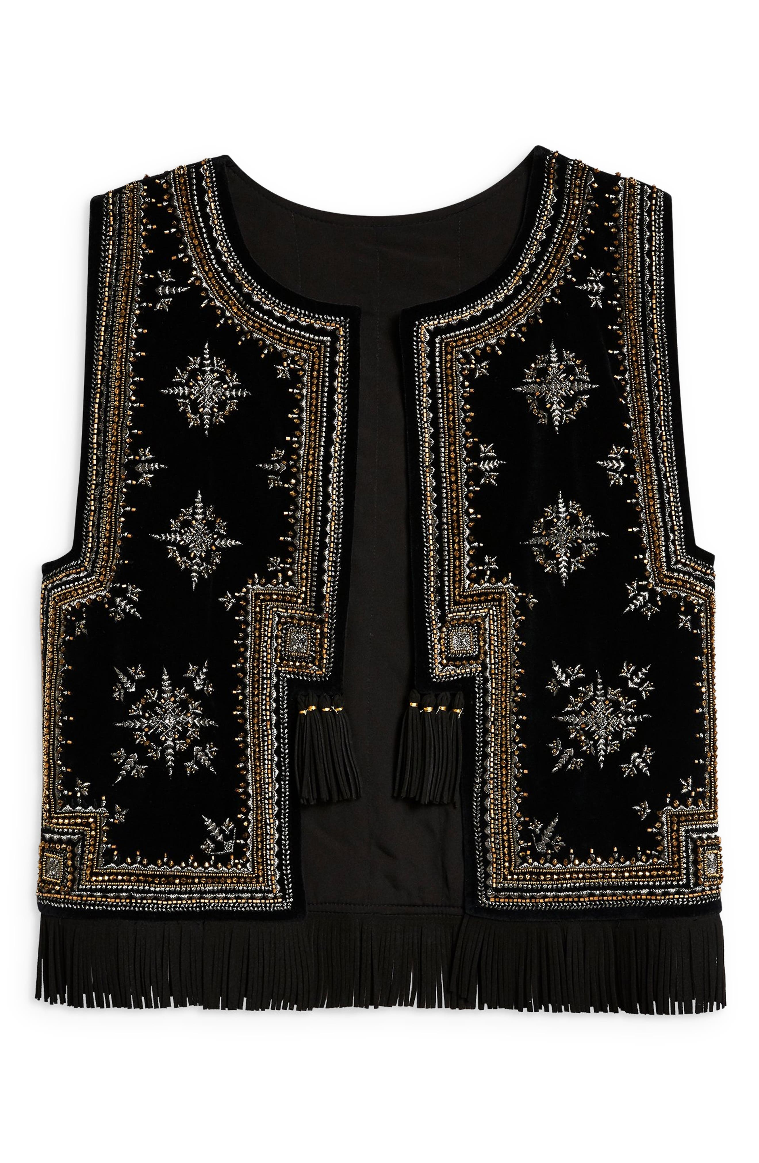 Embroidered Waistcoat Vest,                             Alternate thumbnail 4, color,                             001