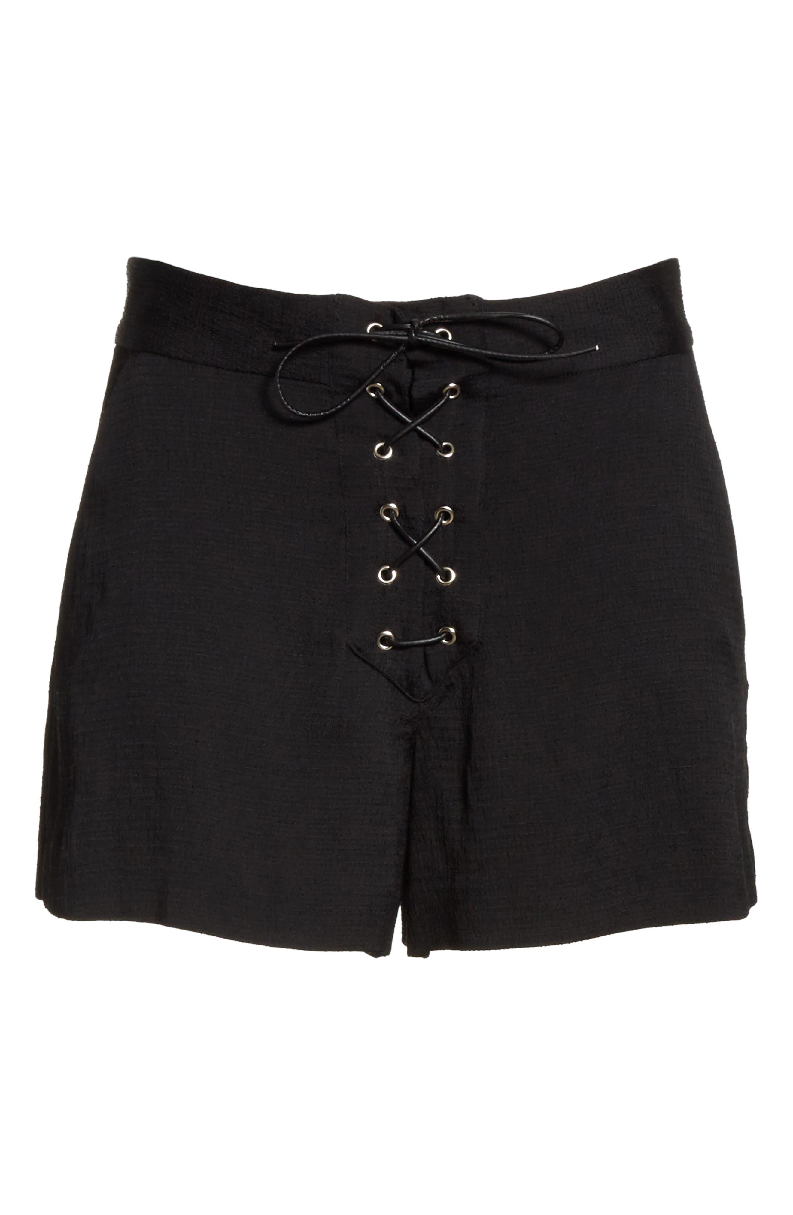 Lulu Lace-Up Shorts,                             Alternate thumbnail 6, color,                             001