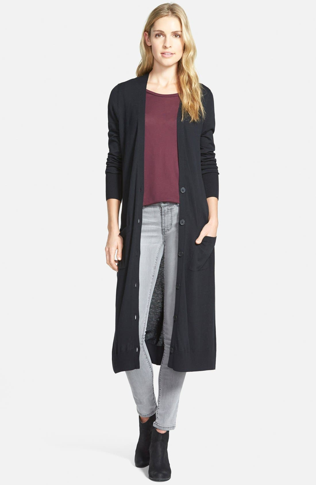 HALOGEN<SUP>®</SUP> Cotton Blend Duster Cardigan, Main, color, 001