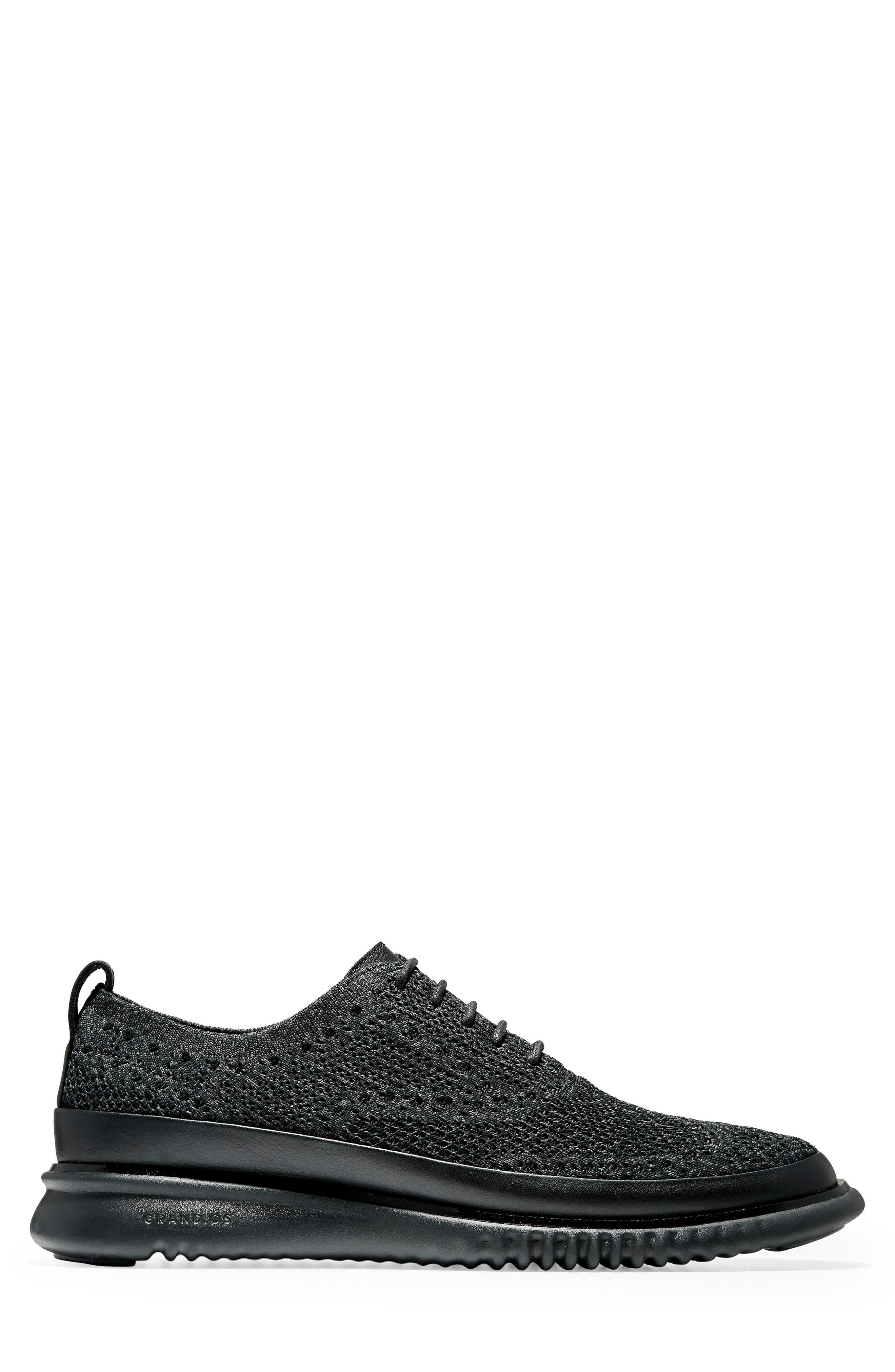 2.ZeroGrand Stitchlite Water Resistant Wingtip,                             Alternate thumbnail 3, color,                             BLACK KNIT
