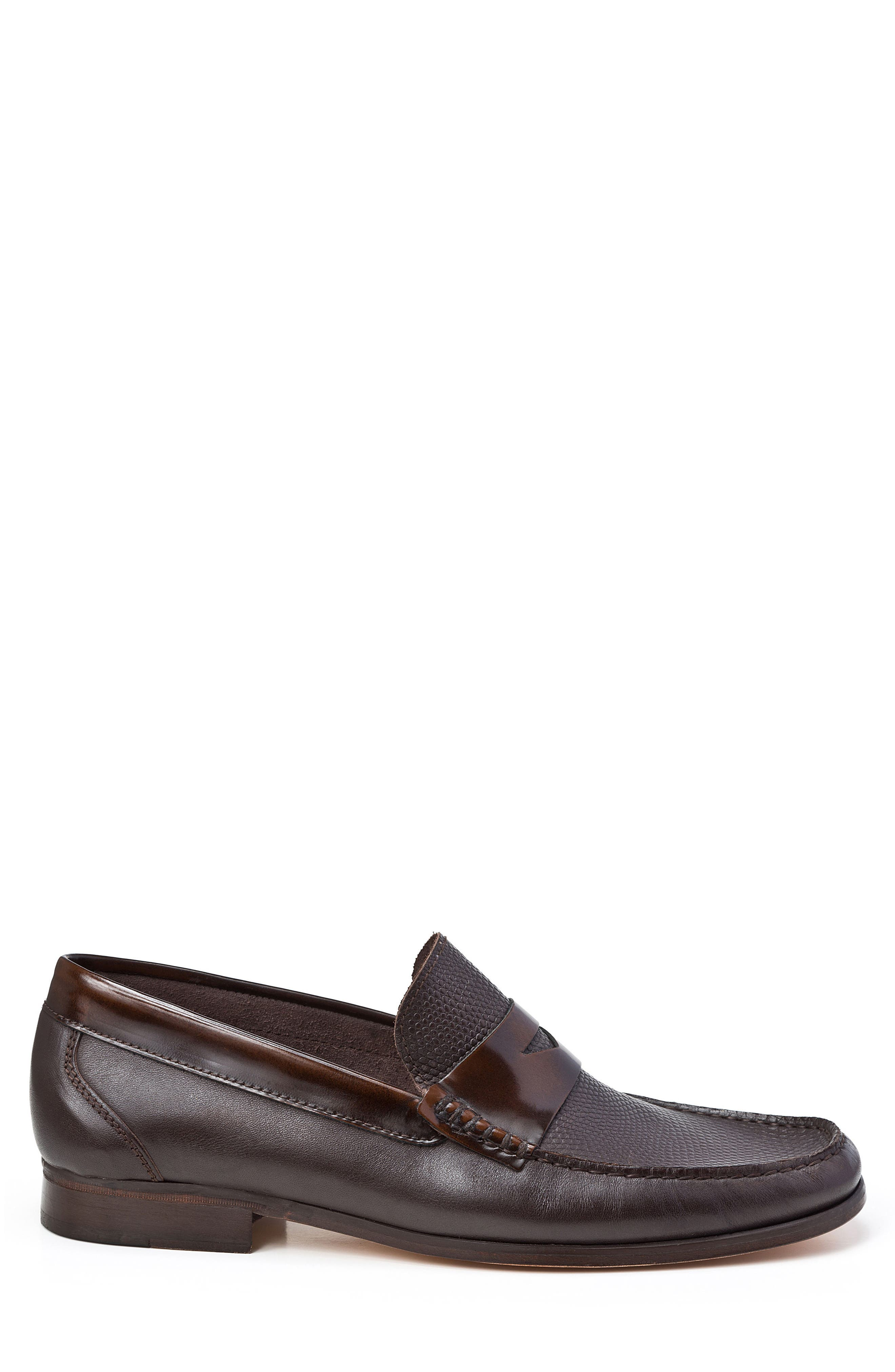 SANDRO MOSCOLONI,                             Bilbao Pebble Embossed Penny Loafer,                             Alternate thumbnail 3, color,                             BROWN
