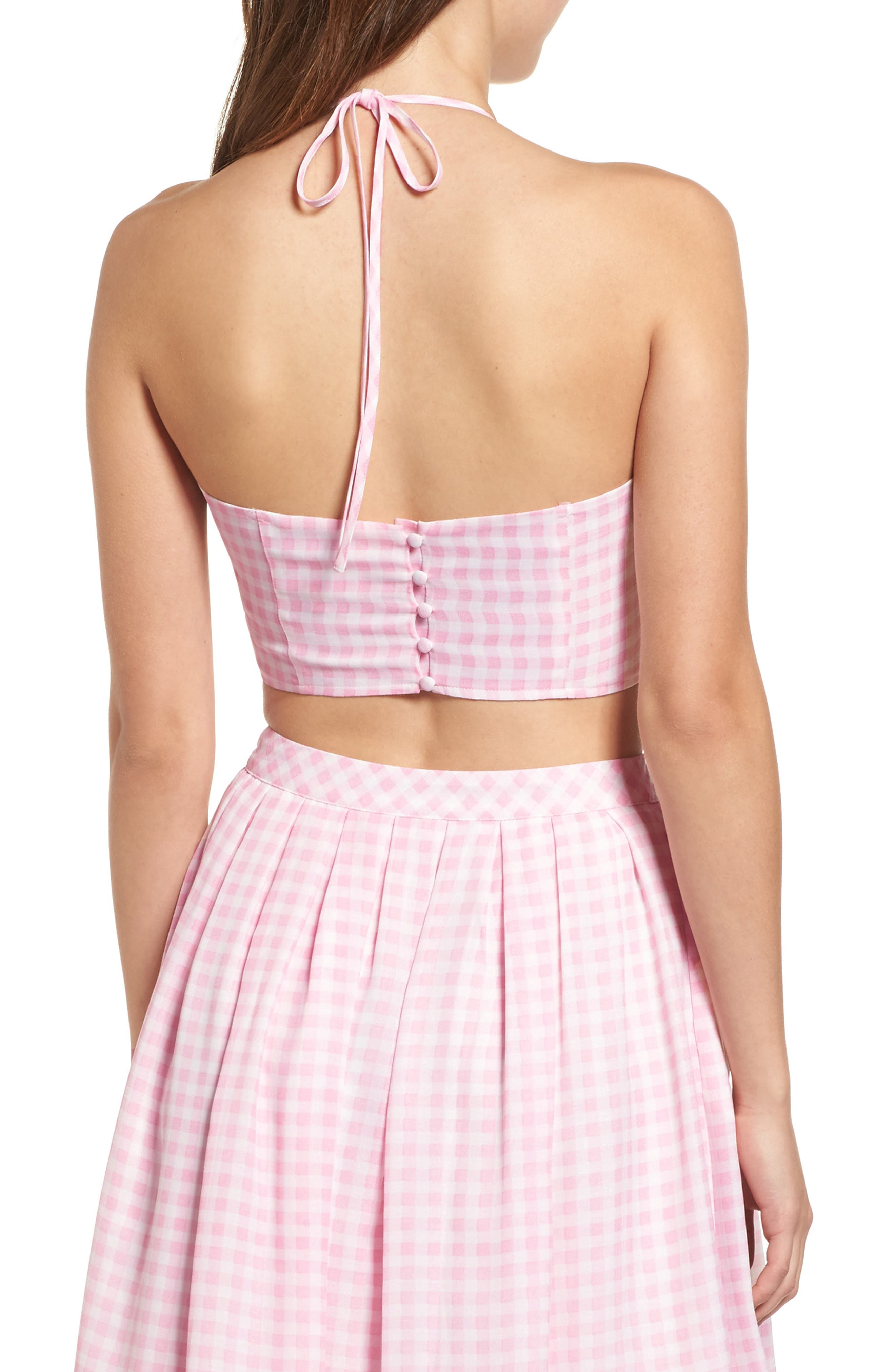Gingham Halter Crop Top,                             Alternate thumbnail 2, color,                             650