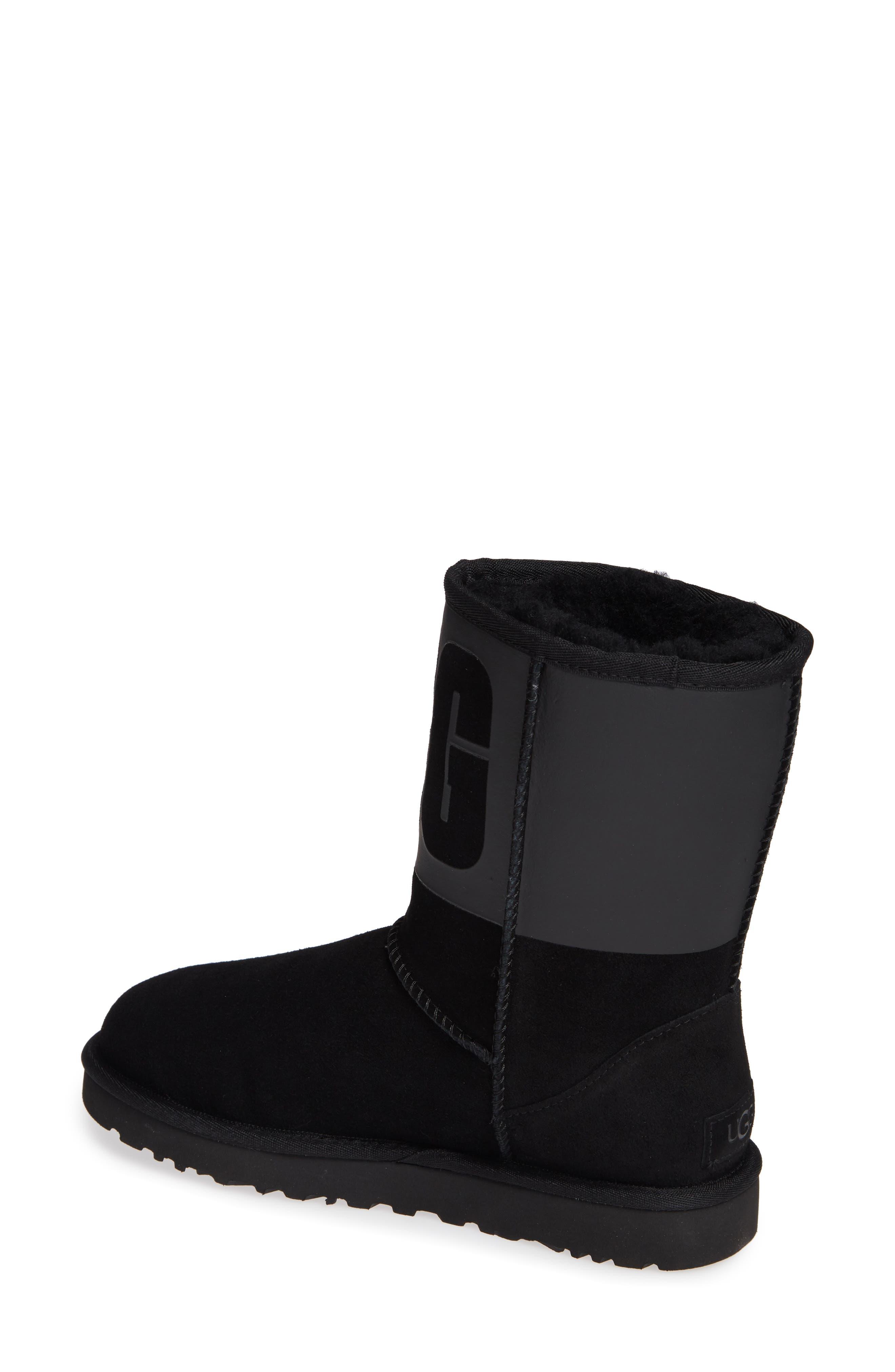 Classic Short Rubber Boot,                             Alternate thumbnail 2, color,                             BLACK