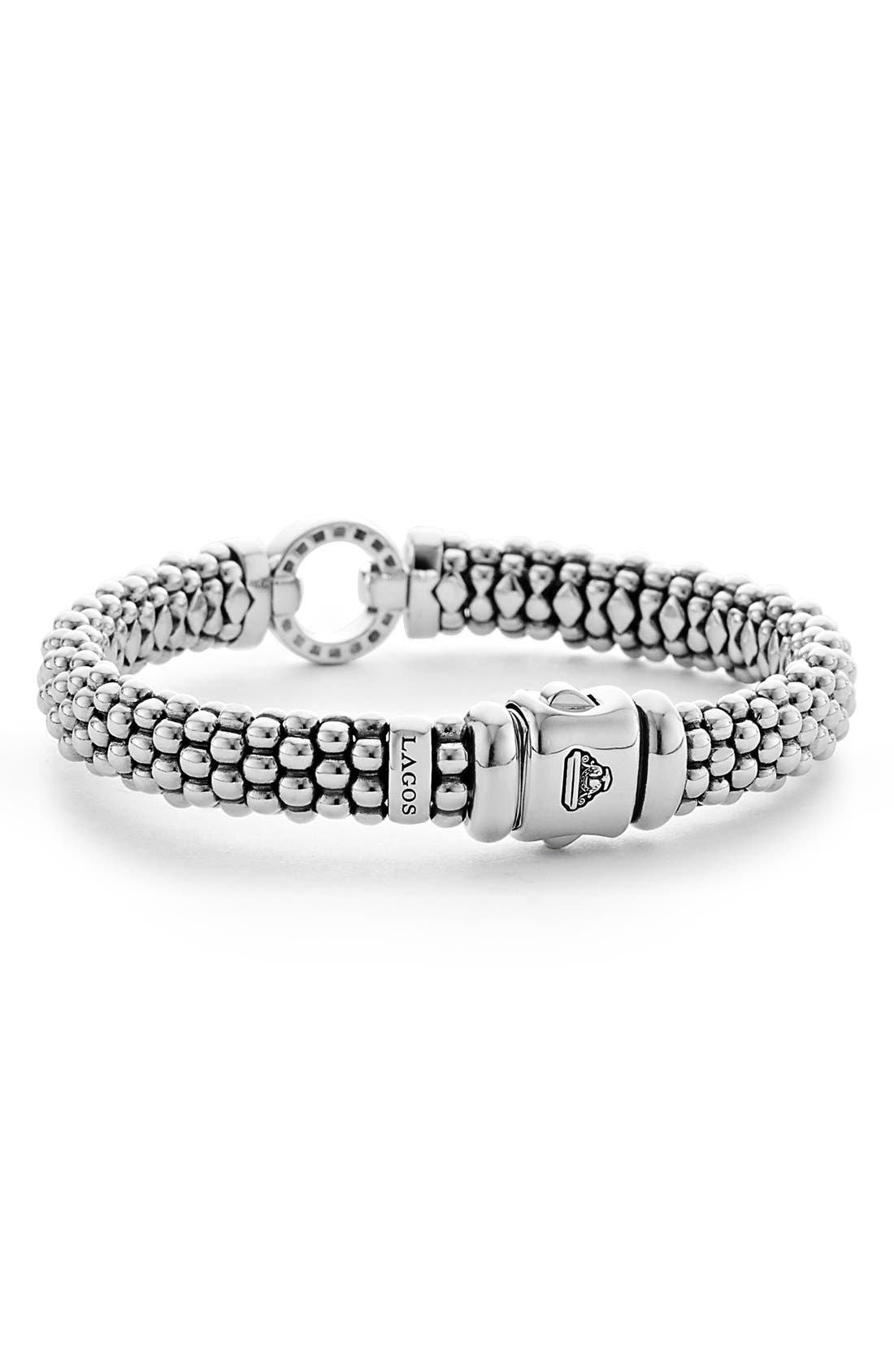'Enso - Circle Game' Diamond Caviar Rope Bracelet,                             Alternate thumbnail 4, color,                             SILVER