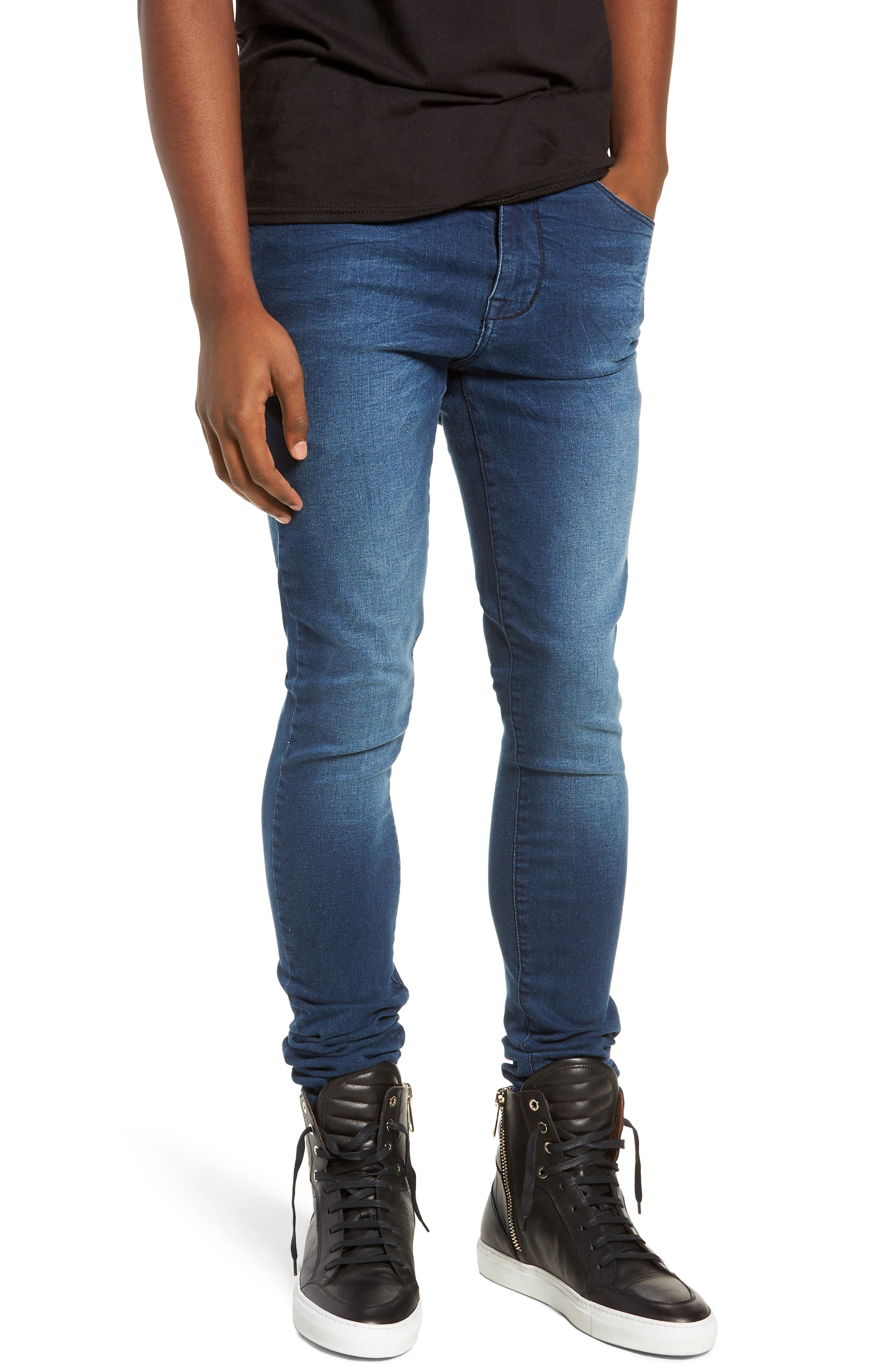 Leroy Skinny Fit Jeans,                             Main thumbnail 1, color,                             WORN DARK BLUE