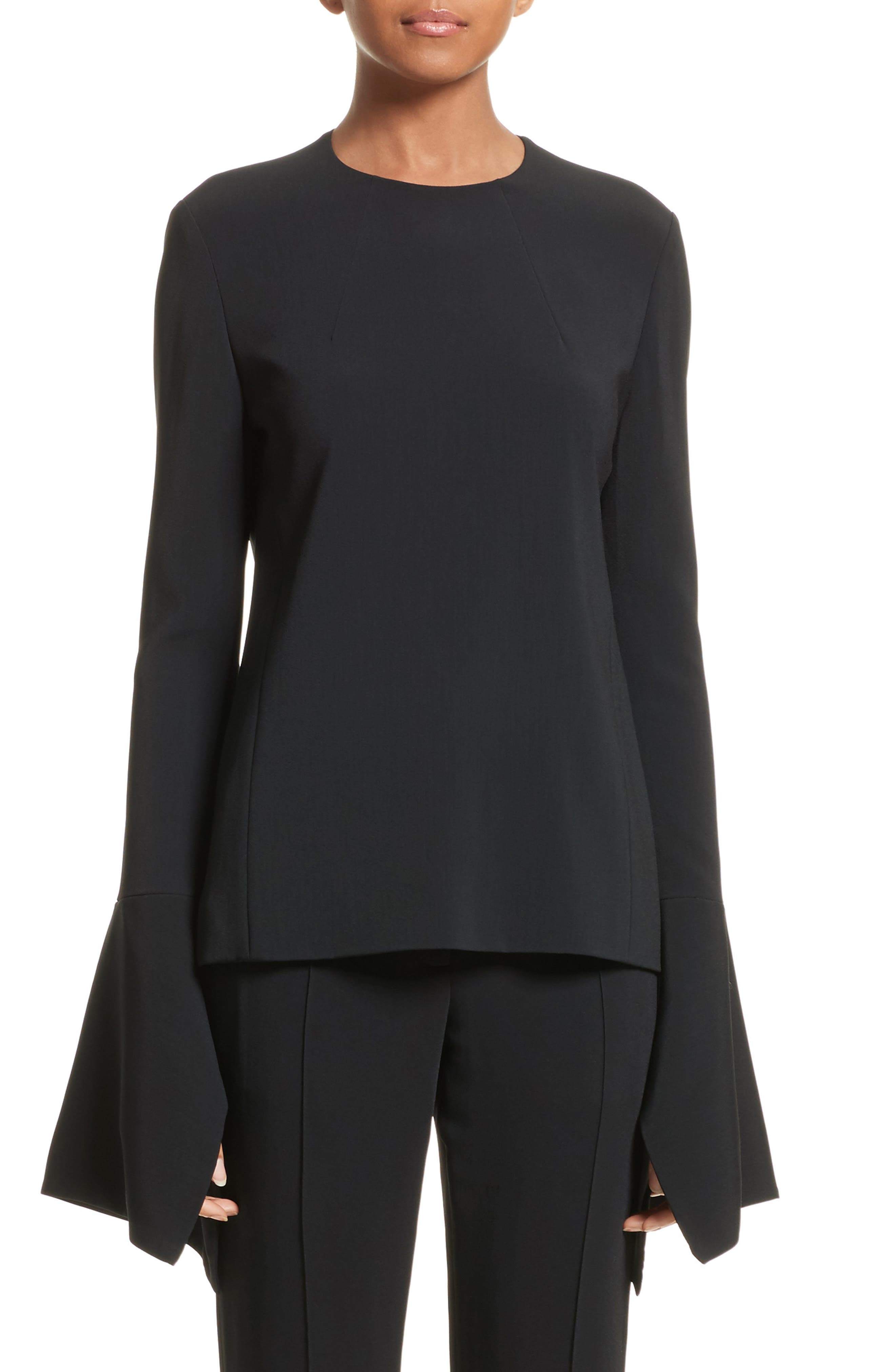 Flare Sleeve Crepe Blouse,                         Main,                         color, 001