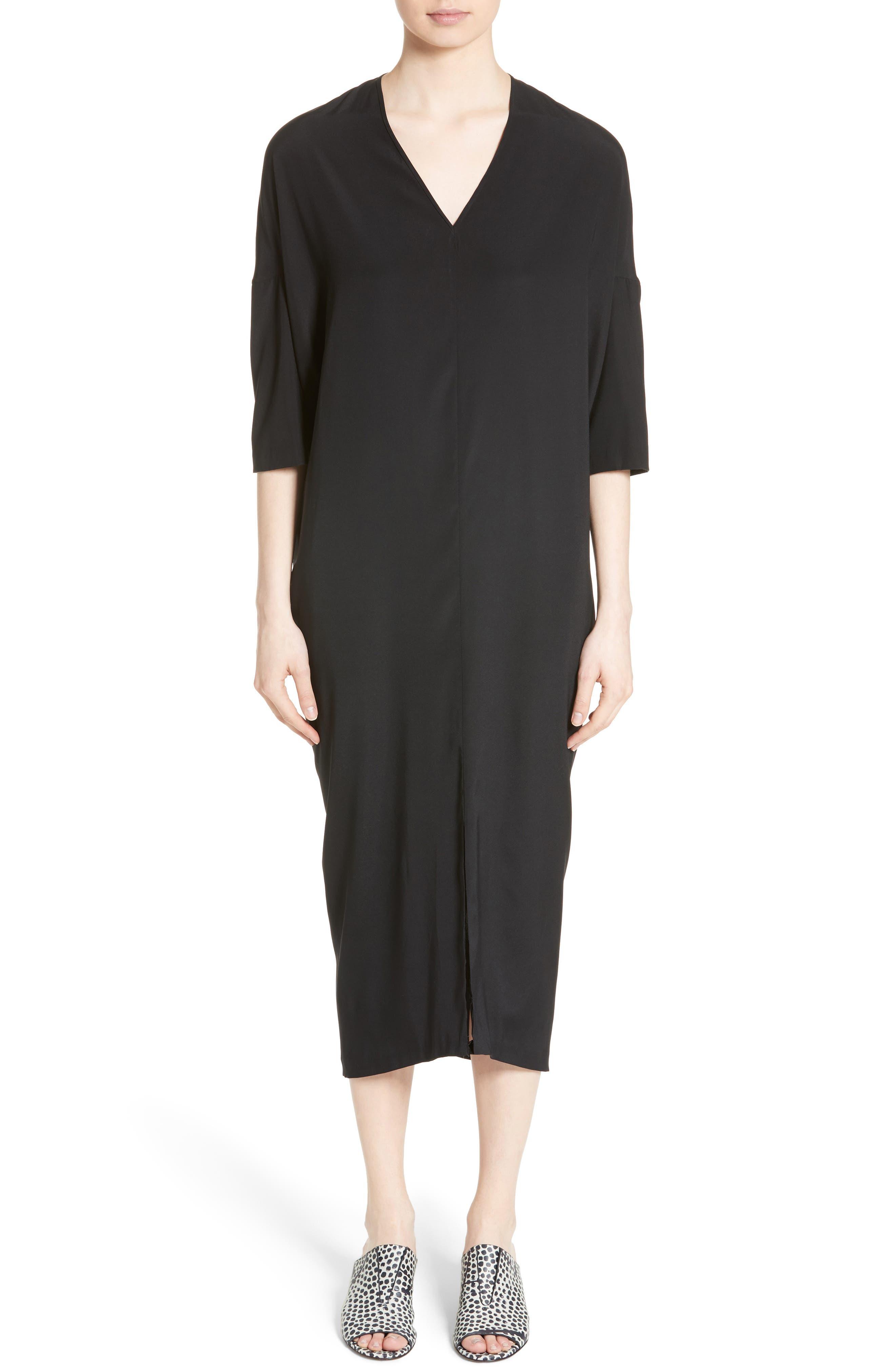 Koya Stretch Silk Charmeuse Dress,                             Main thumbnail 1, color,                             001