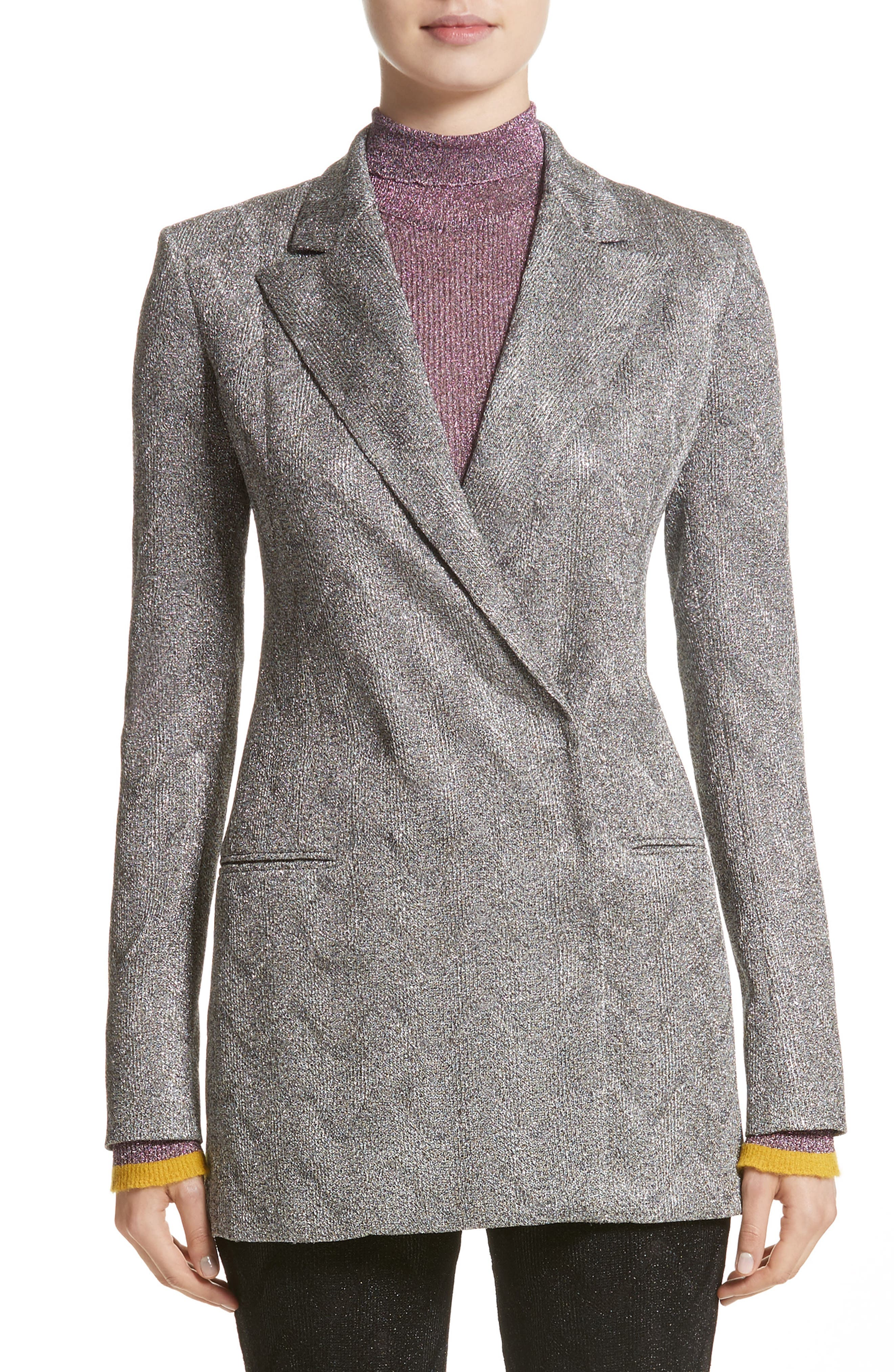Metallic Knit Double Breasted Jacket,                         Main,                         color,