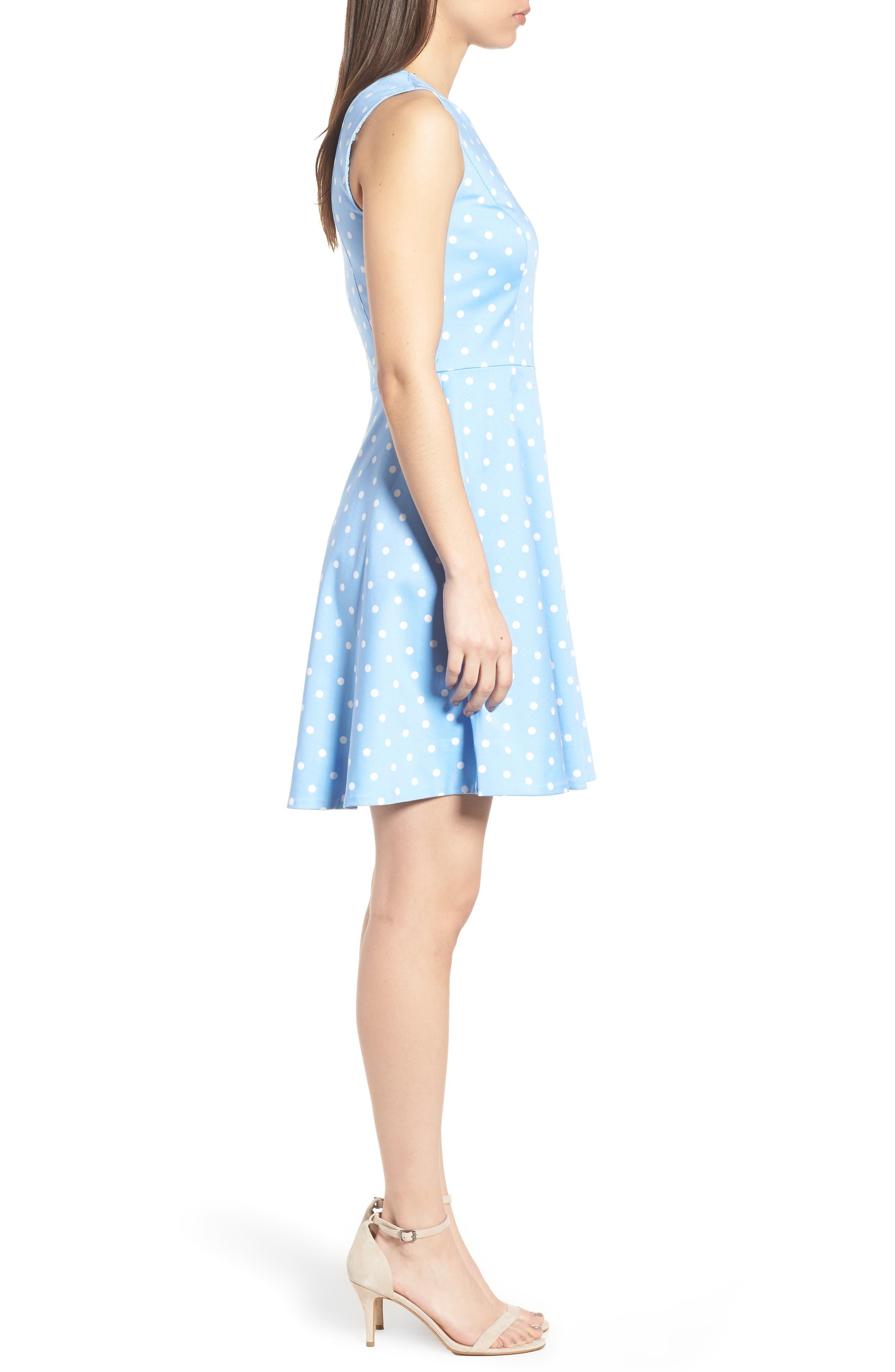 Dot Crew Love Circle Stretch Cotton Dress,                             Alternate thumbnail 3, color,
