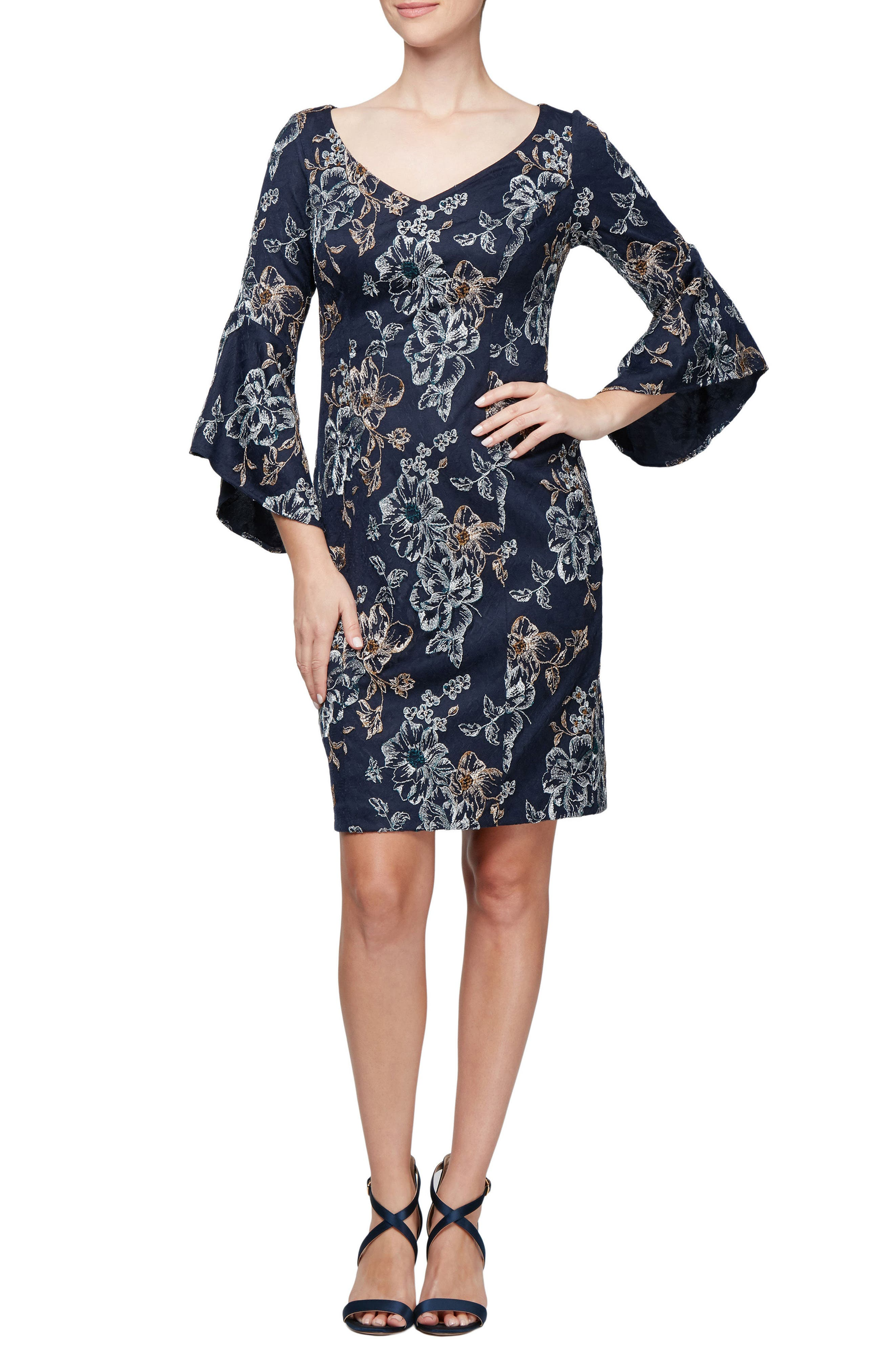 Alex Evenings Embroidered Cocktail Dress, Blue
