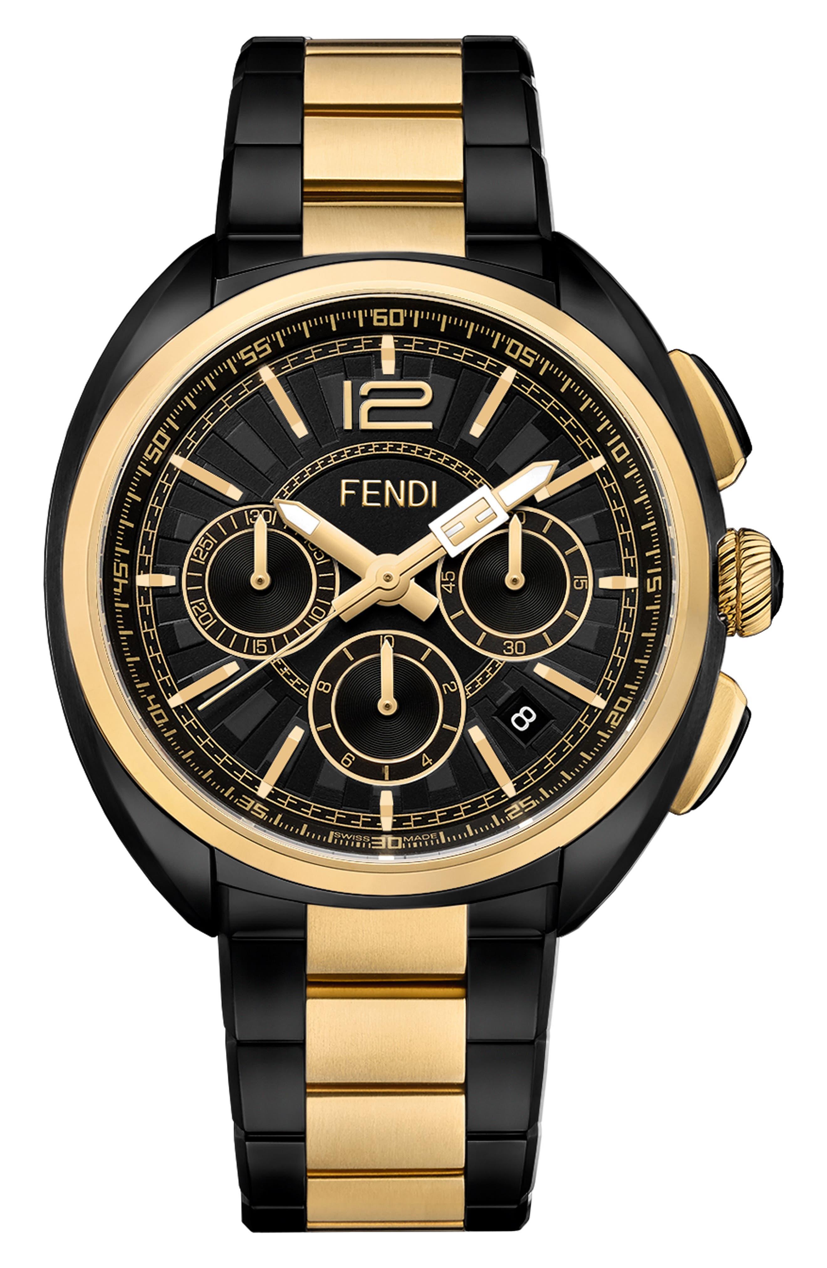 Momento Chronograph Bracelet Watch, 46mm,                         Main,                         color, BLACK/ GOLD