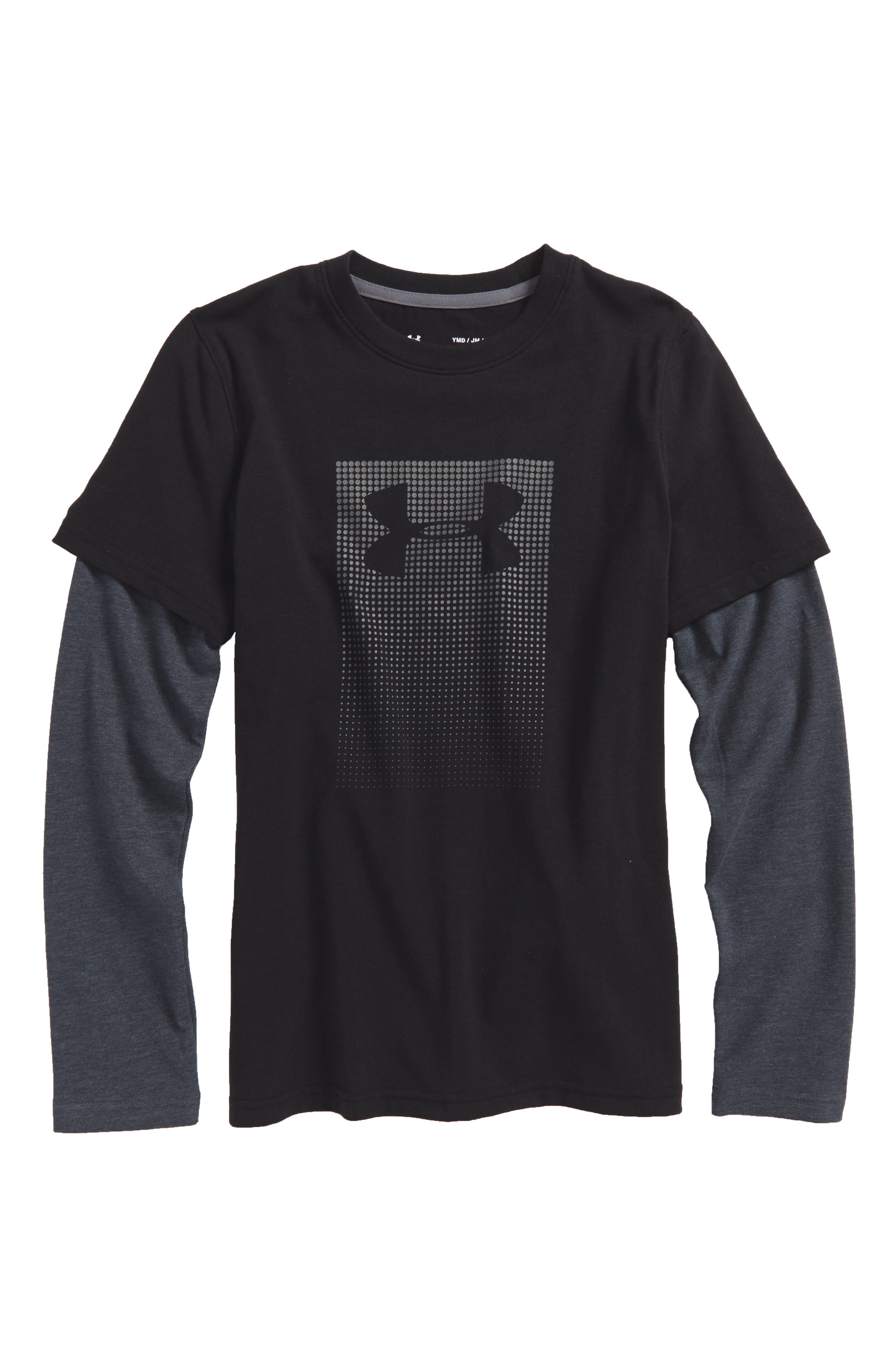 Long Sleeve HeatGear<sup>®</sup> T-Shirt,                         Main,                         color, 001
