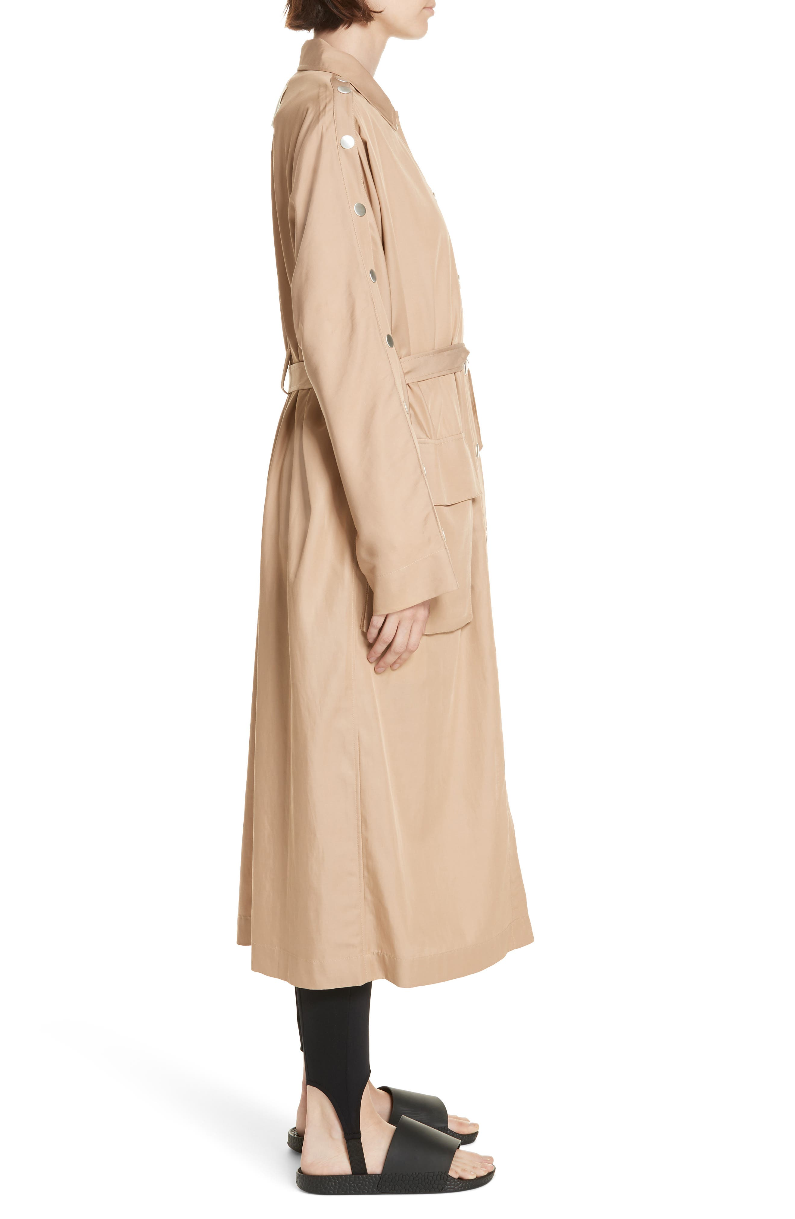 Snap Detail Trench Coat,                             Alternate thumbnail 3, color,                             200